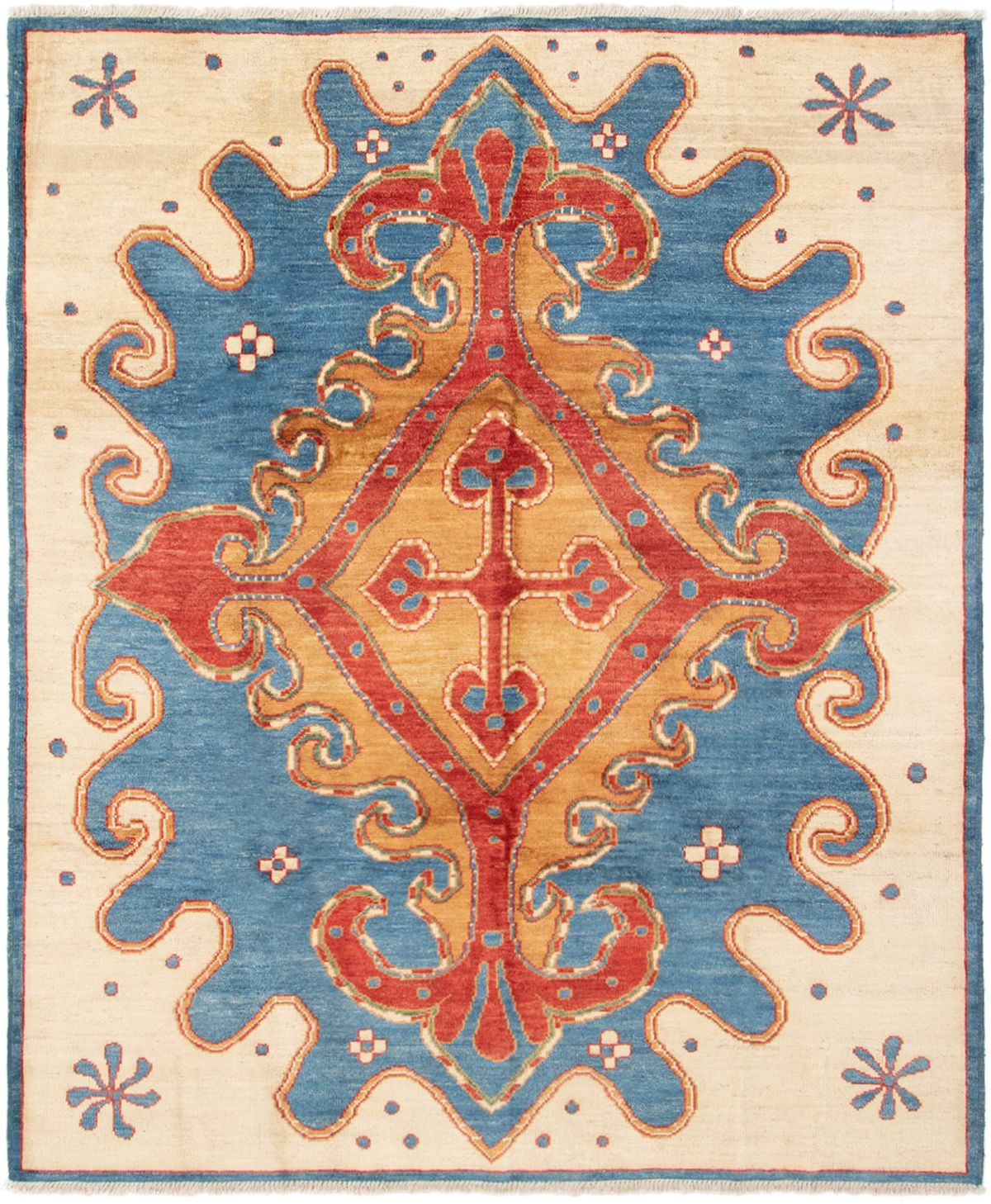 """Hand-knotted Shalimar Dark Blue, Red Wool Rug 8'4"""" x 9'10"""" Size: 8'4"""" x 9'10"""""""