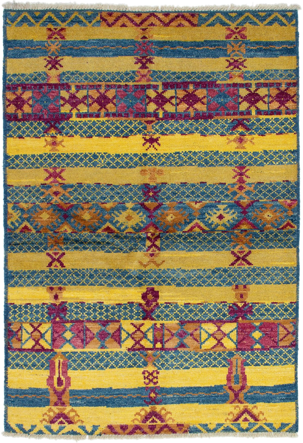 """Hand-knotted Shalimar Blue, Gold Wool Rug 4'2"""" x 6'2""""  Size: 4'2"""" x 6'2"""""""