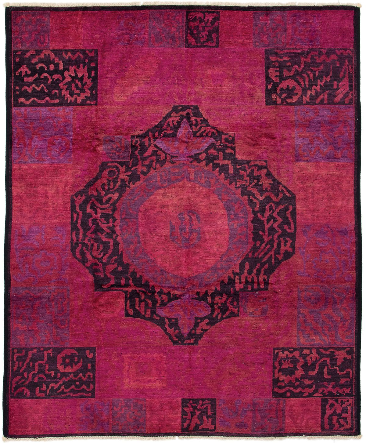 """Hand-knotted Vibrance Dark Pink Wool Rug 8'0"""" x 9'9"""" Product Image"""