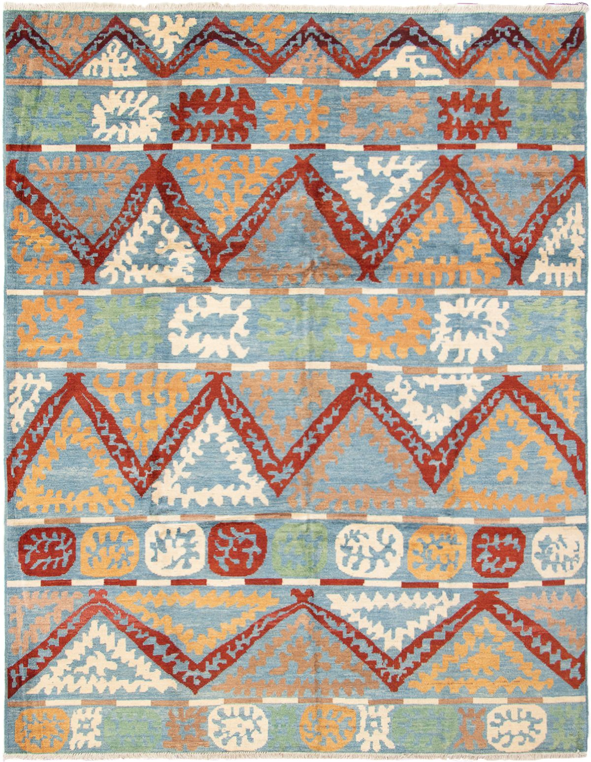 """Hand-knotted Shalimar Copper, Sky Blue Wool Rug 9'3"""" x 11'10"""" Size: 9'3"""" x 11'10"""""""