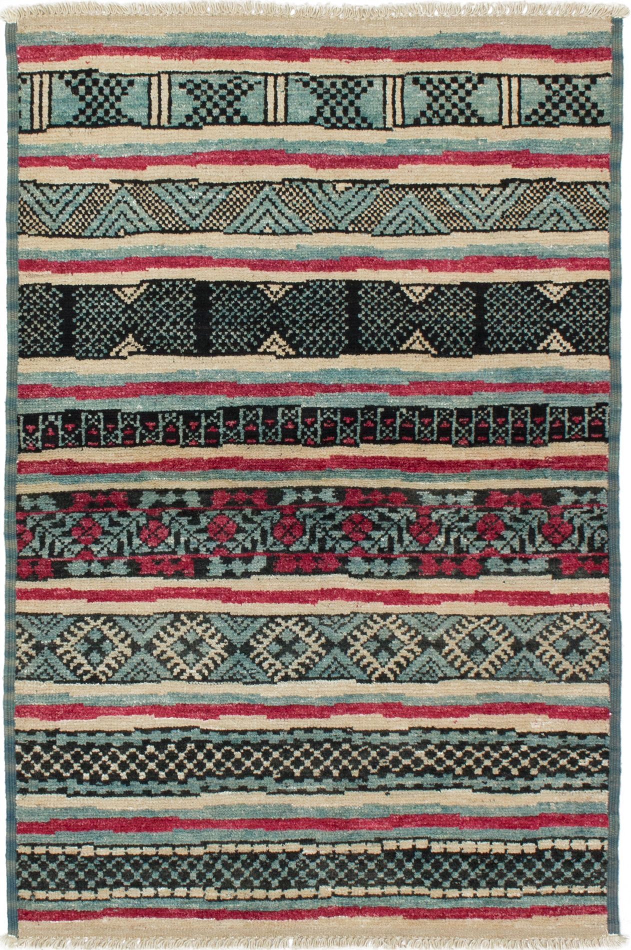 """Hand-knotted Shalimar Sky Blue Wool Rug 4'2"""" x 6'3"""" Size: 4'2"""" x 6'3"""""""