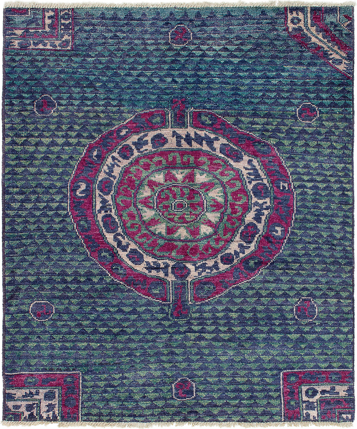 """Hand-knotted Shalimar Navy Blue Wool Rug 5'8"""" x 6'7"""" Size: 5'8"""" x 6'7"""""""