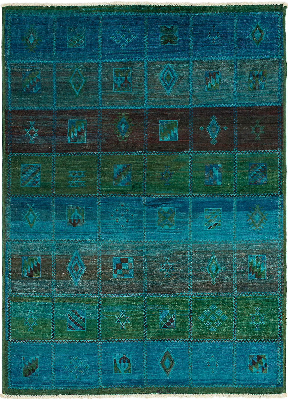 """Hand-knotted Vibrance Blue Wool Rug 6'4"""" x 8'9"""" Size: 6'4"""" x 8'9"""""""