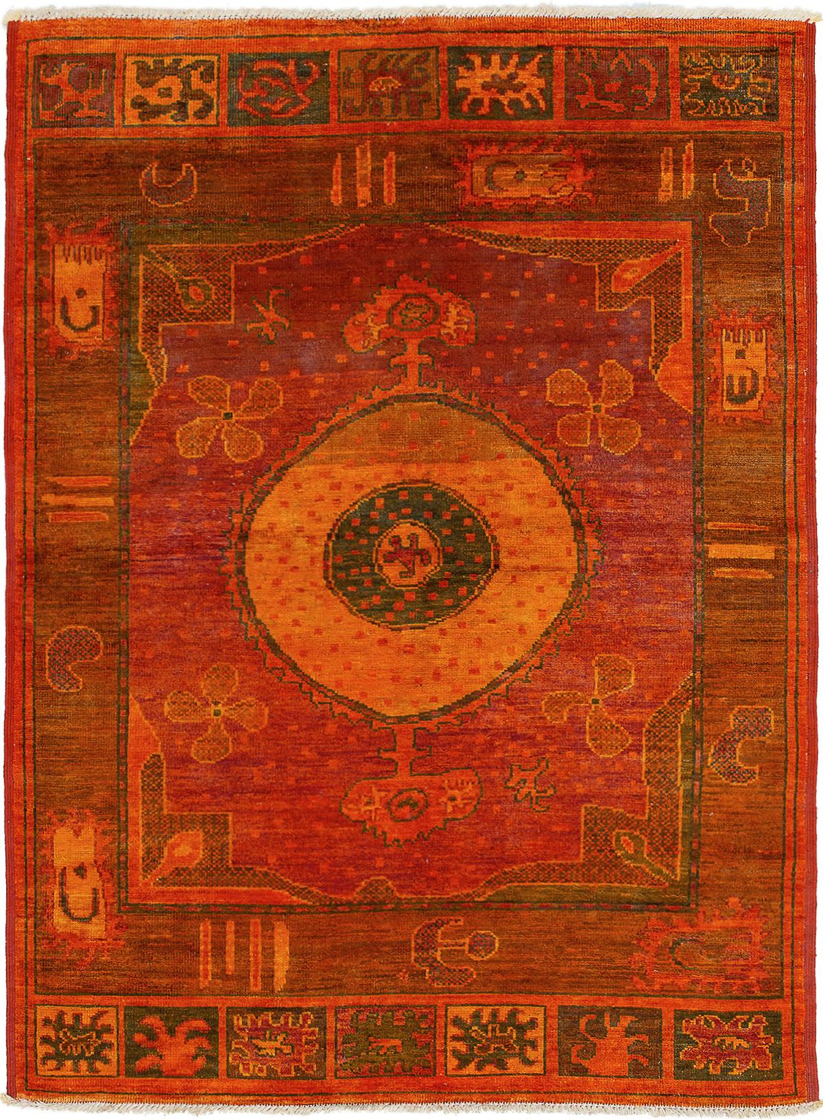 "Hand-knotted Vibrance Dark Red, Light Orange Wool Rug 6'5"" x 8'8"" Size: 6'5"" x 8'8"""