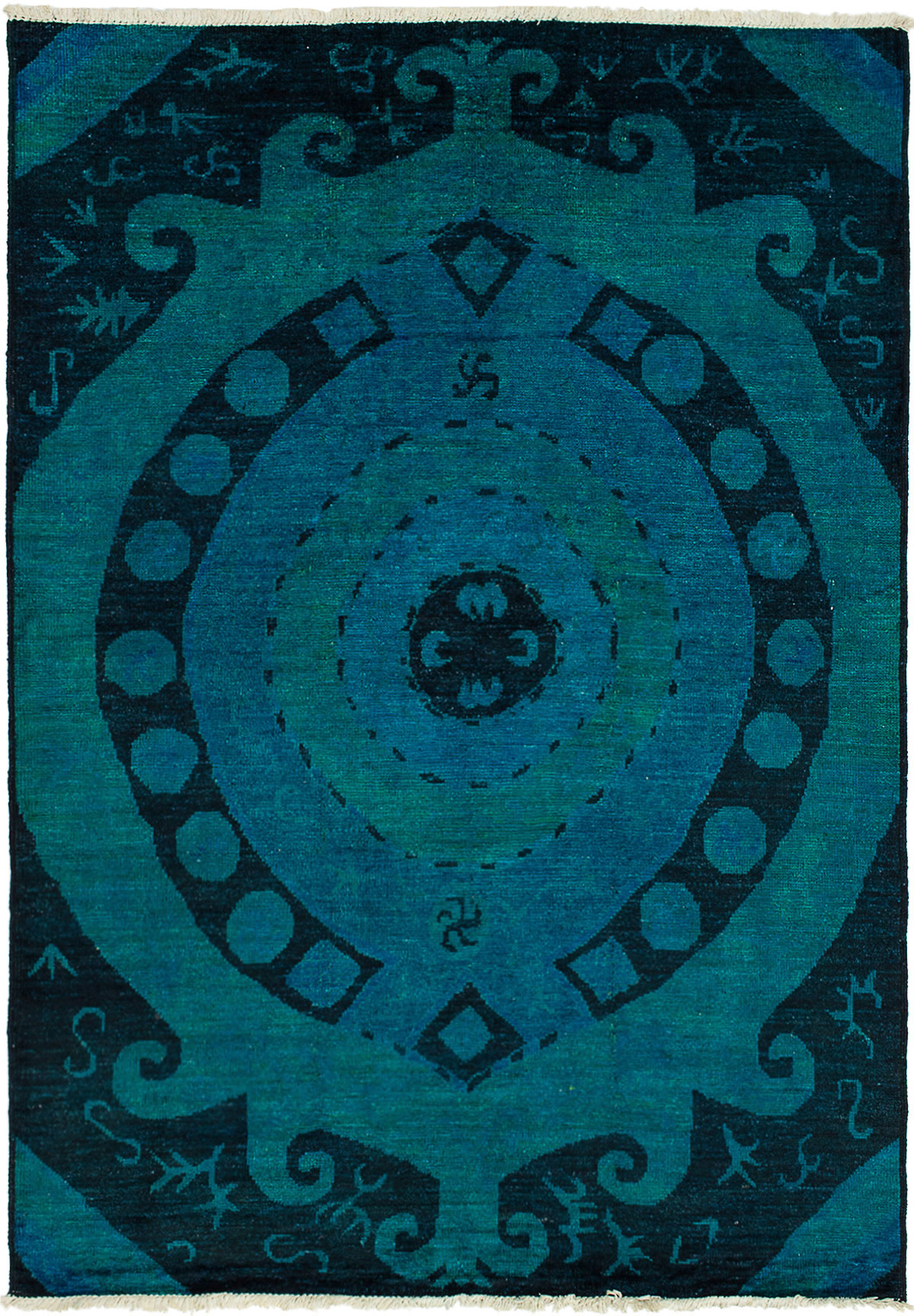 """Hand-knotted Vibrance Black, Blue Wool Rug 6'6"""" x 9'2"""" Size: 6'6"""" x 9'2"""""""