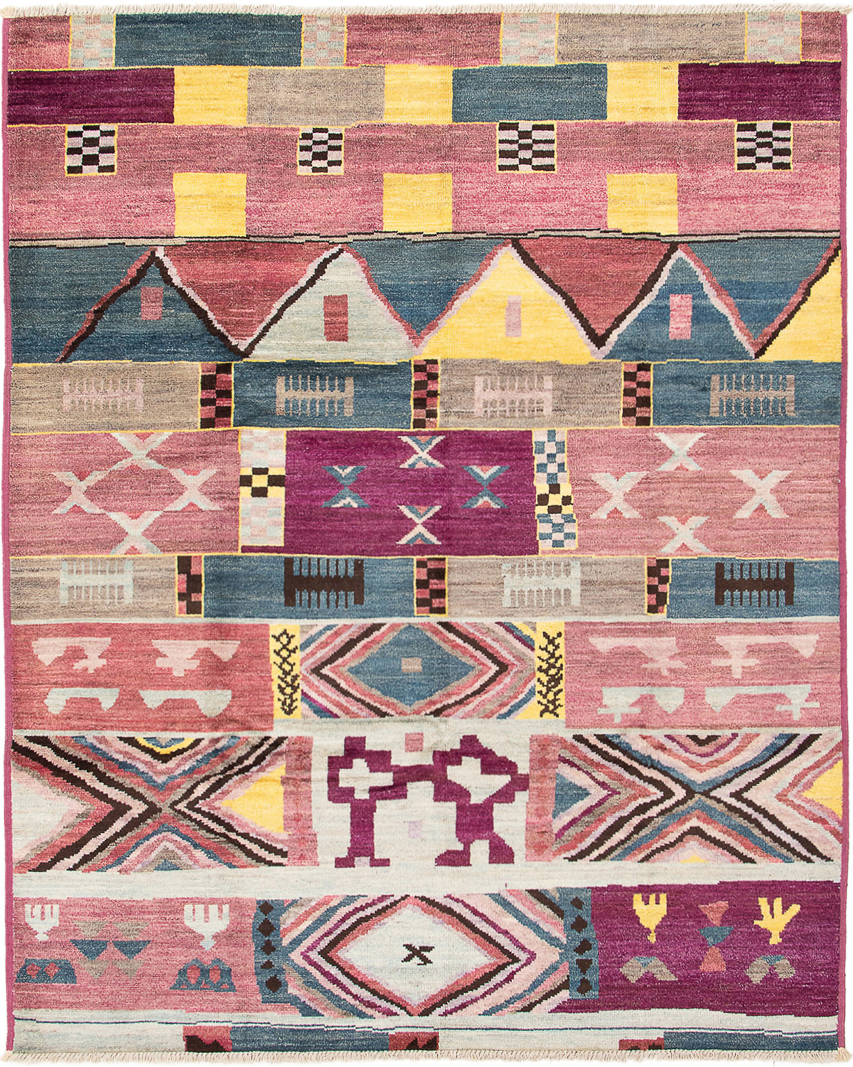 """Hand-knotted Shalimar Blue, Dark Pink Wool Rug 8'2"""" x 10'2"""" Size: 8'2"""" x 10'2"""""""