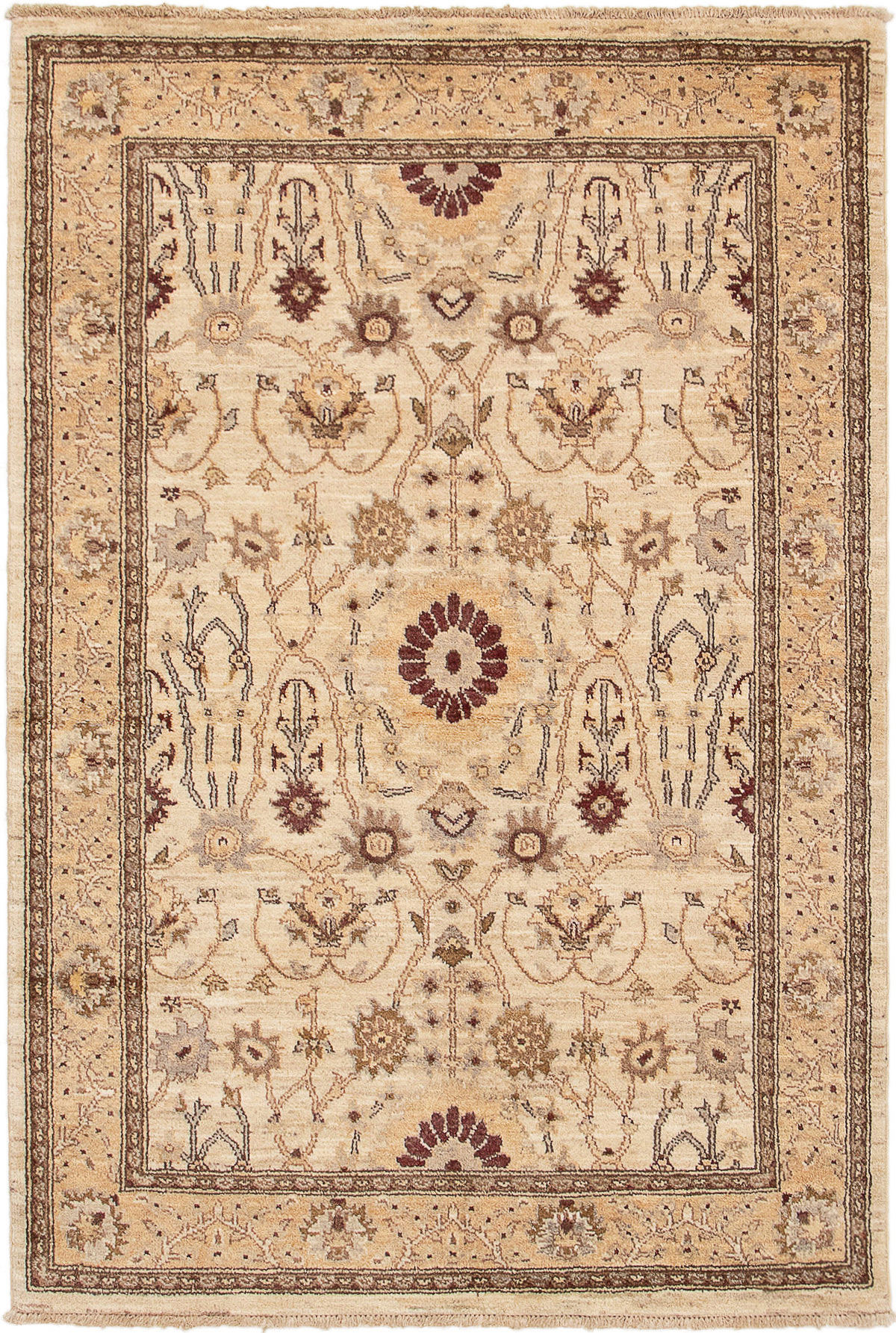 """Hand-knotted Chobi Finest Cream Wool Rug 4'1"""" x 6'1""""  Size: 4'1"""" x 6'1"""""""
