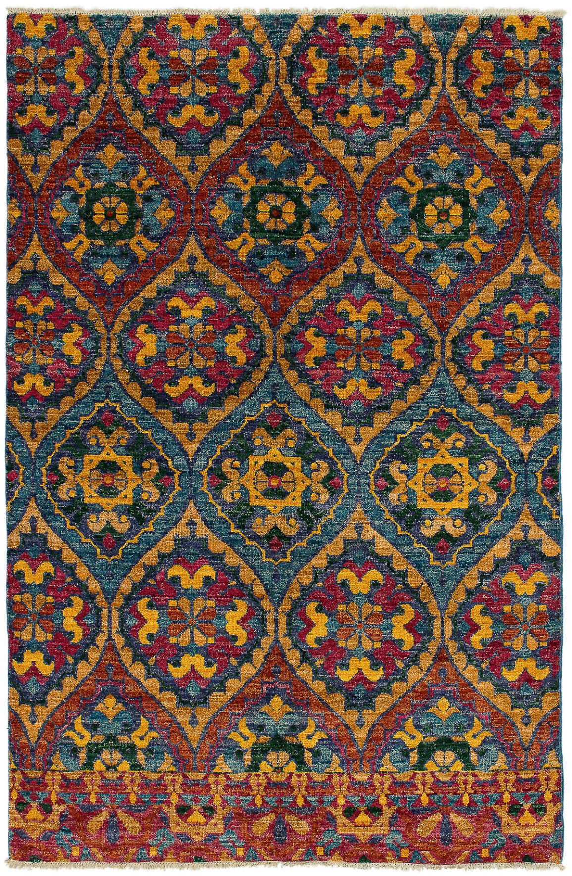 """Hand-knotted Shalimar Sky Blue, Tan Wool Rug 6'0"""" x 9'0"""" Size: 6'0"""" x 9'0"""""""