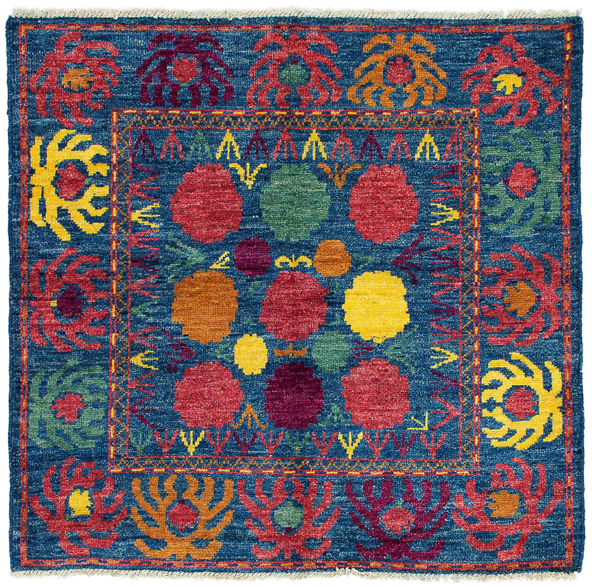"""Hand-knotted Shalimar Blue Wool Rug 5'4"""" x 5'0"""" Size: 5'4"""" x 5'0"""""""