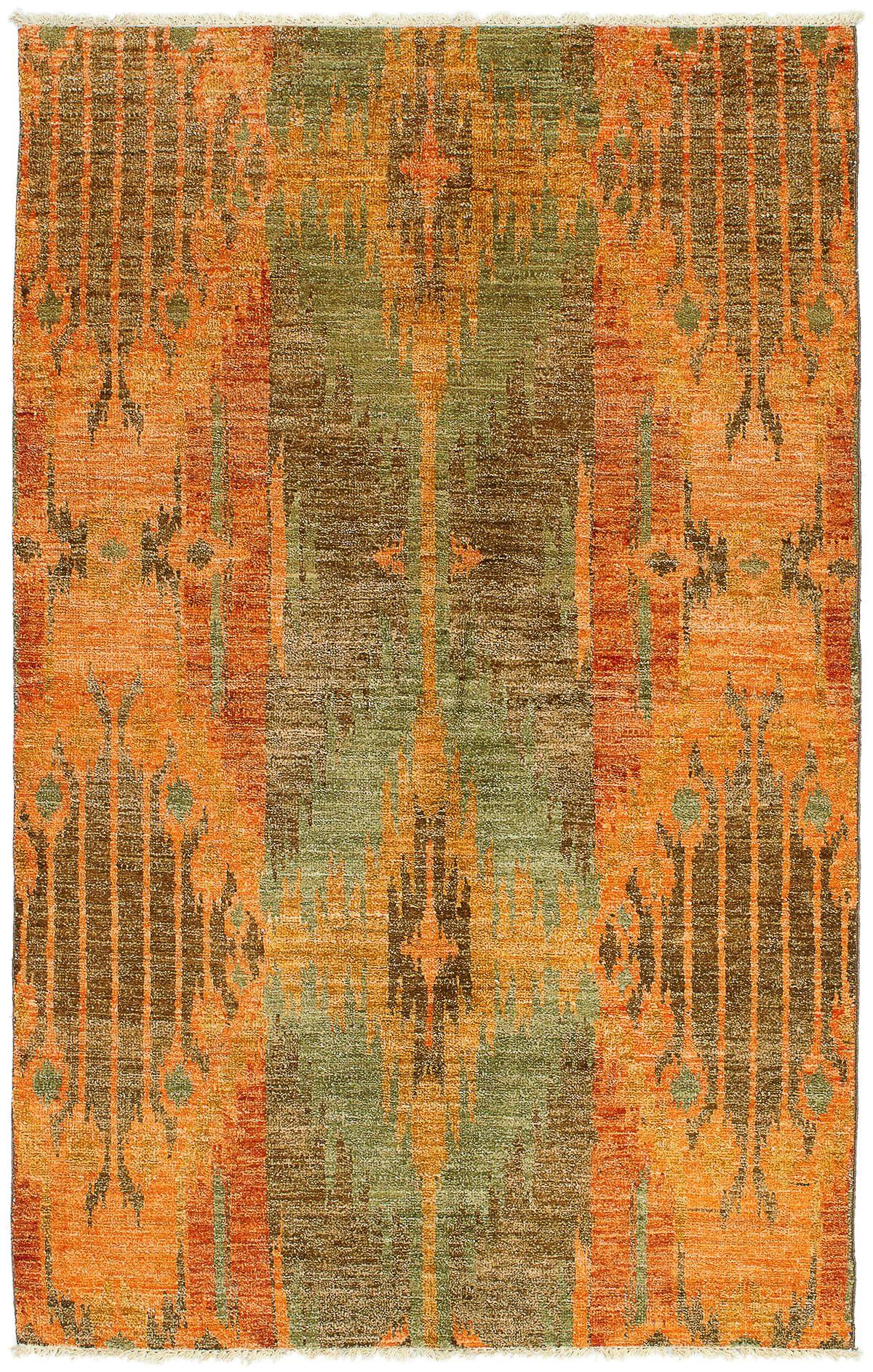"Hand-knotted Shalimar Orange Wool Rug 4'6"" x 7'1"" Size: 4'6"" x 7'1"""