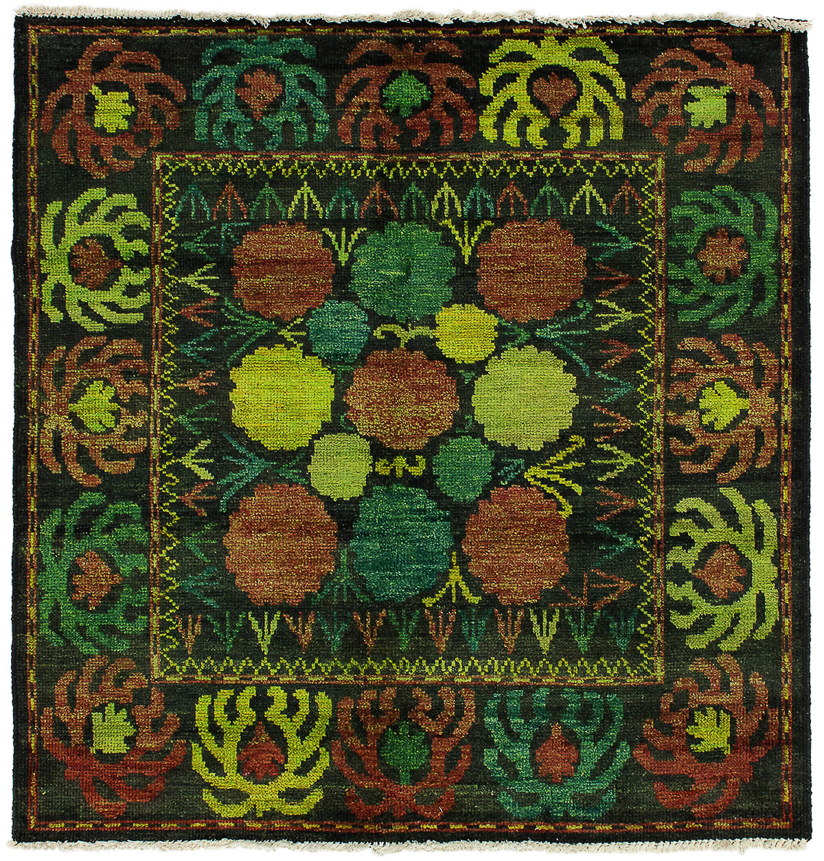 """Hand-knotted Vibrance Black Wool Rug 5'2"""" x 5'3"""" Size: 5'2"""" x 5'3"""""""