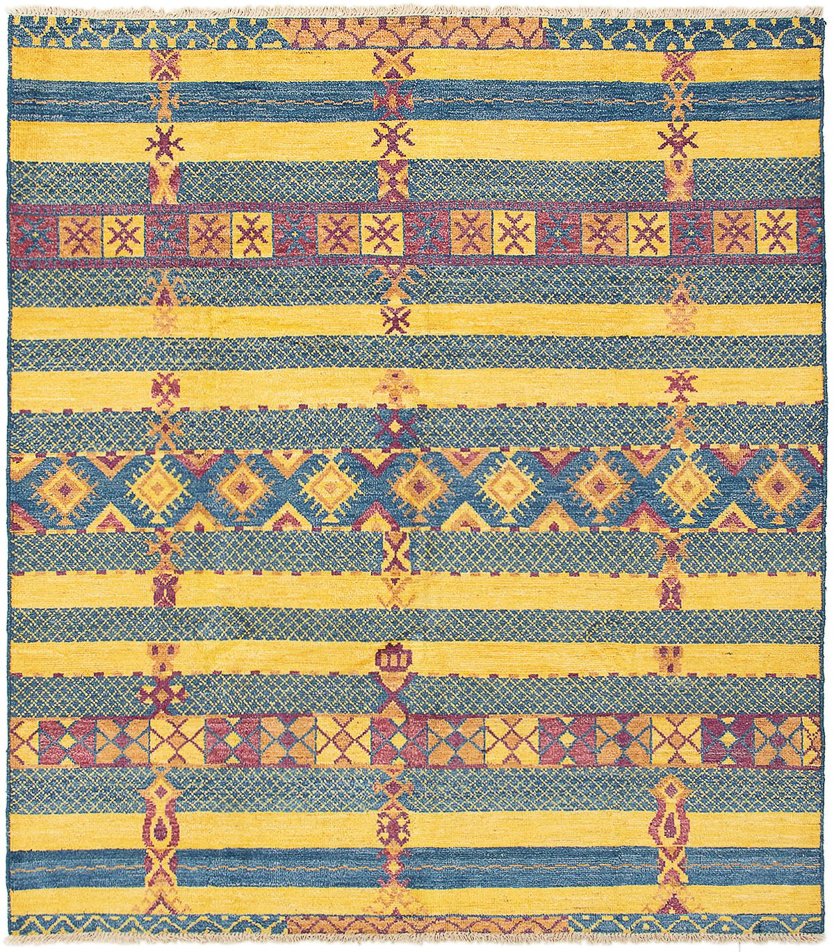 """Hand-knotted Shalimar Blue, Gold Wool Rug 8'6"""" x 9'8"""" Size: 8'6"""" x 9'8"""""""