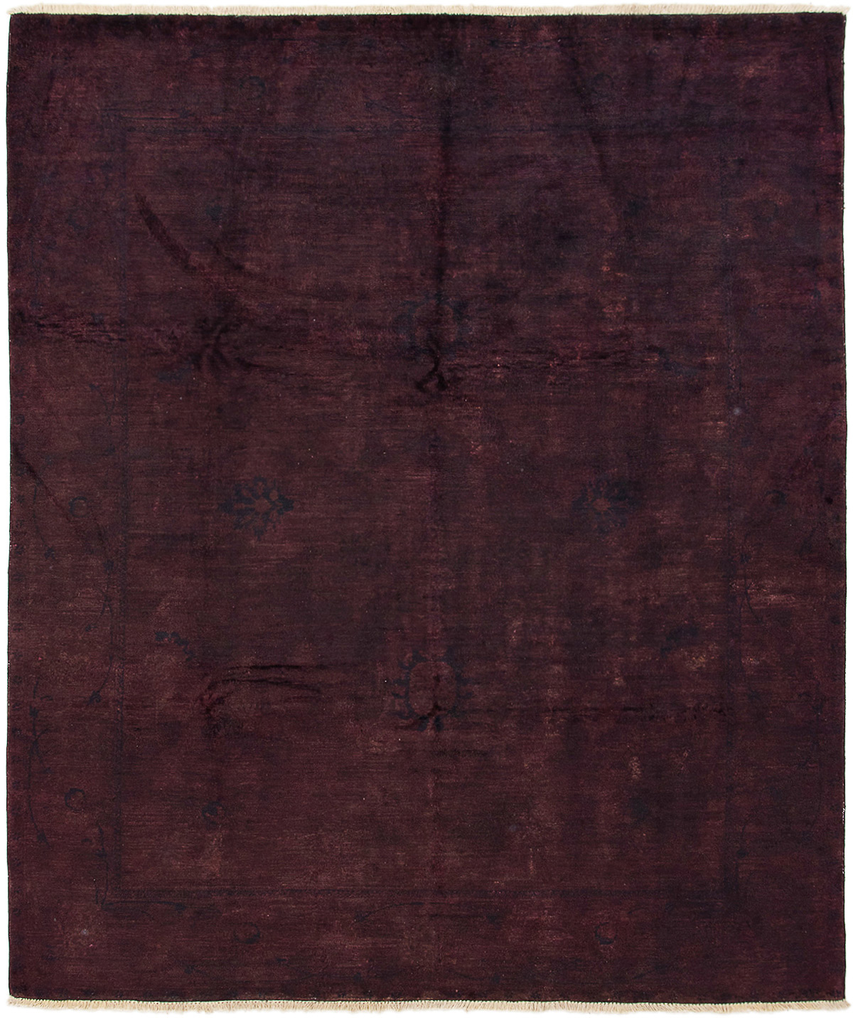 """Hand-knotted Color transition Dark Burgundy Wool Rug 8'2"""" x 9'7"""" Size: 8'2"""" x 9'7"""""""