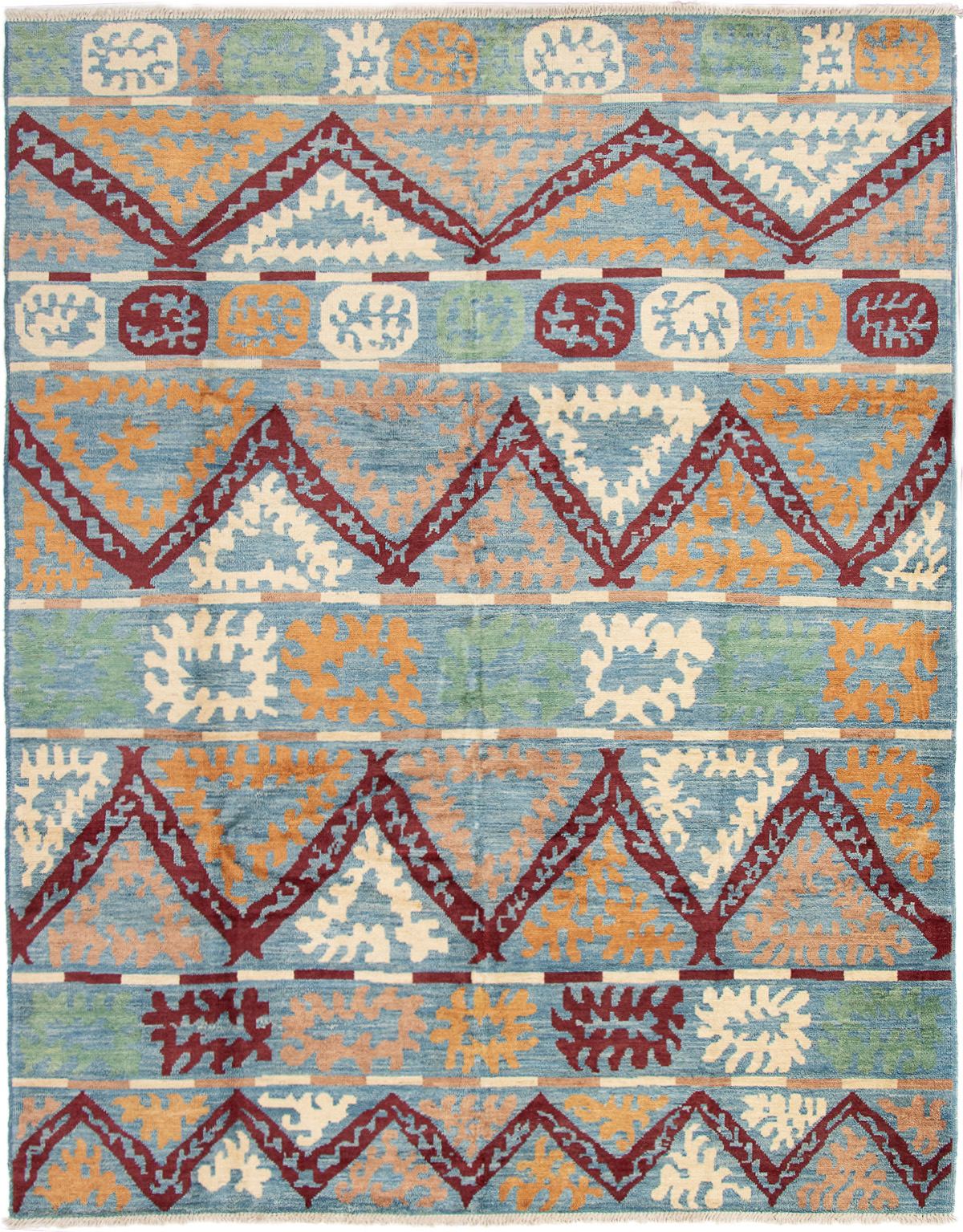 """Hand-knotted Shalimar Dark Red, Sky Blue Wool Rug 9'3"""" x 11'10"""" Size: 9'3"""" x 11'10"""""""