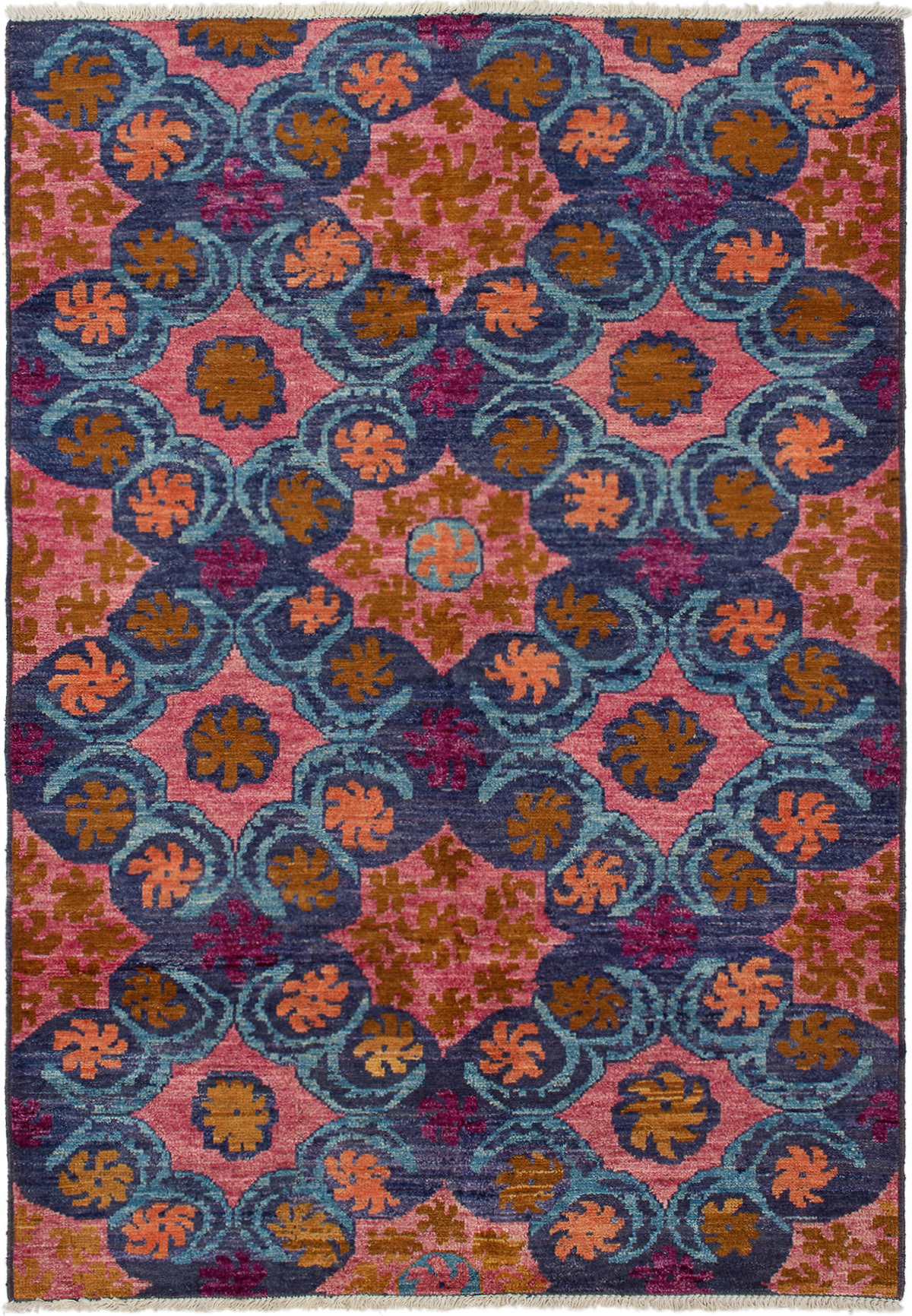 """Hand-knotted Shalimar Navy Blue, Salmon Wool Rug 6'1"""" x 9'0"""" Size: 6'1"""" x 9'0"""""""
