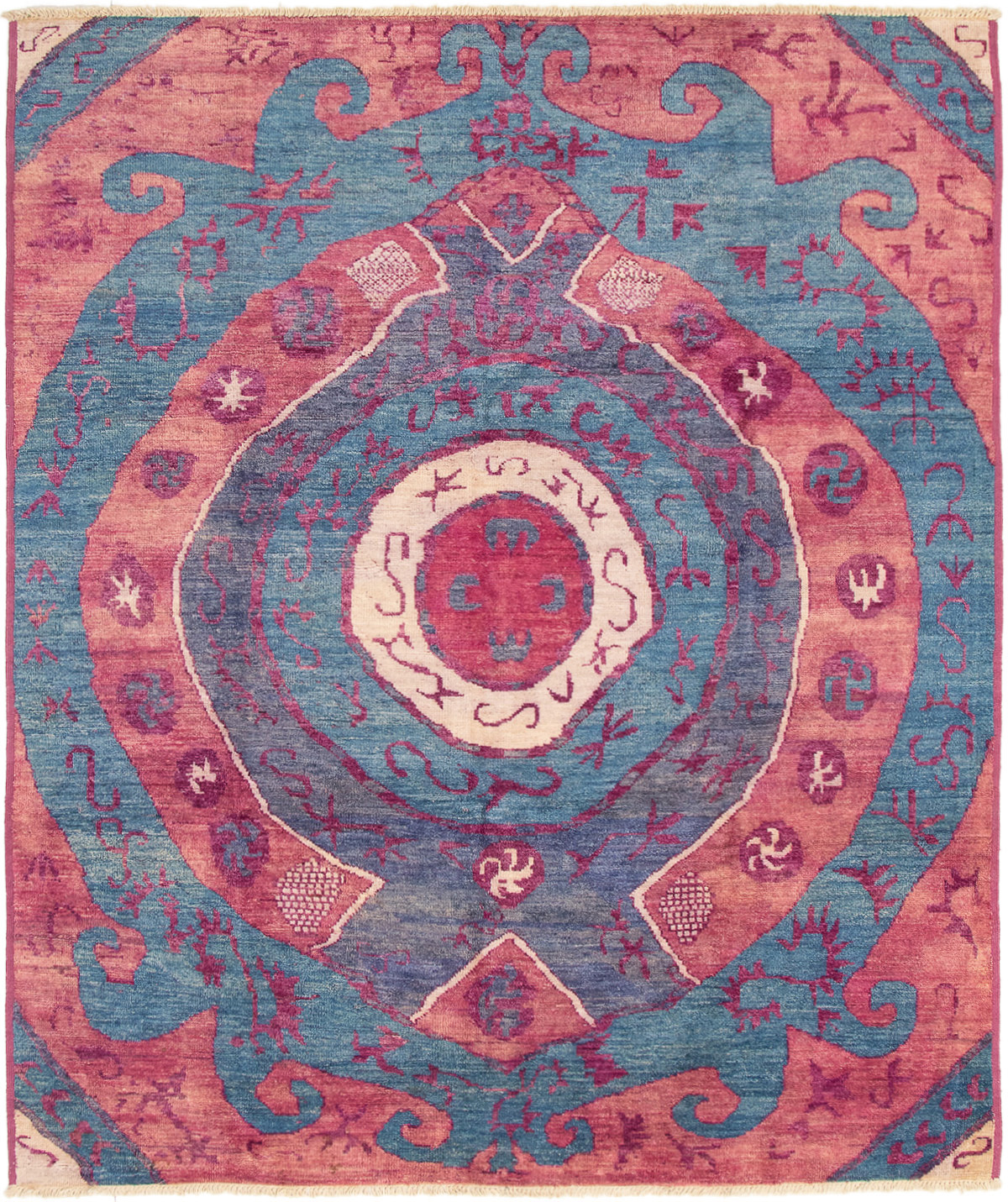 """Hand-knotted Shalimar Navy Blue Wool Rug 8'5"""" x 9'7"""" Size: 8'5"""" x 9'7"""""""