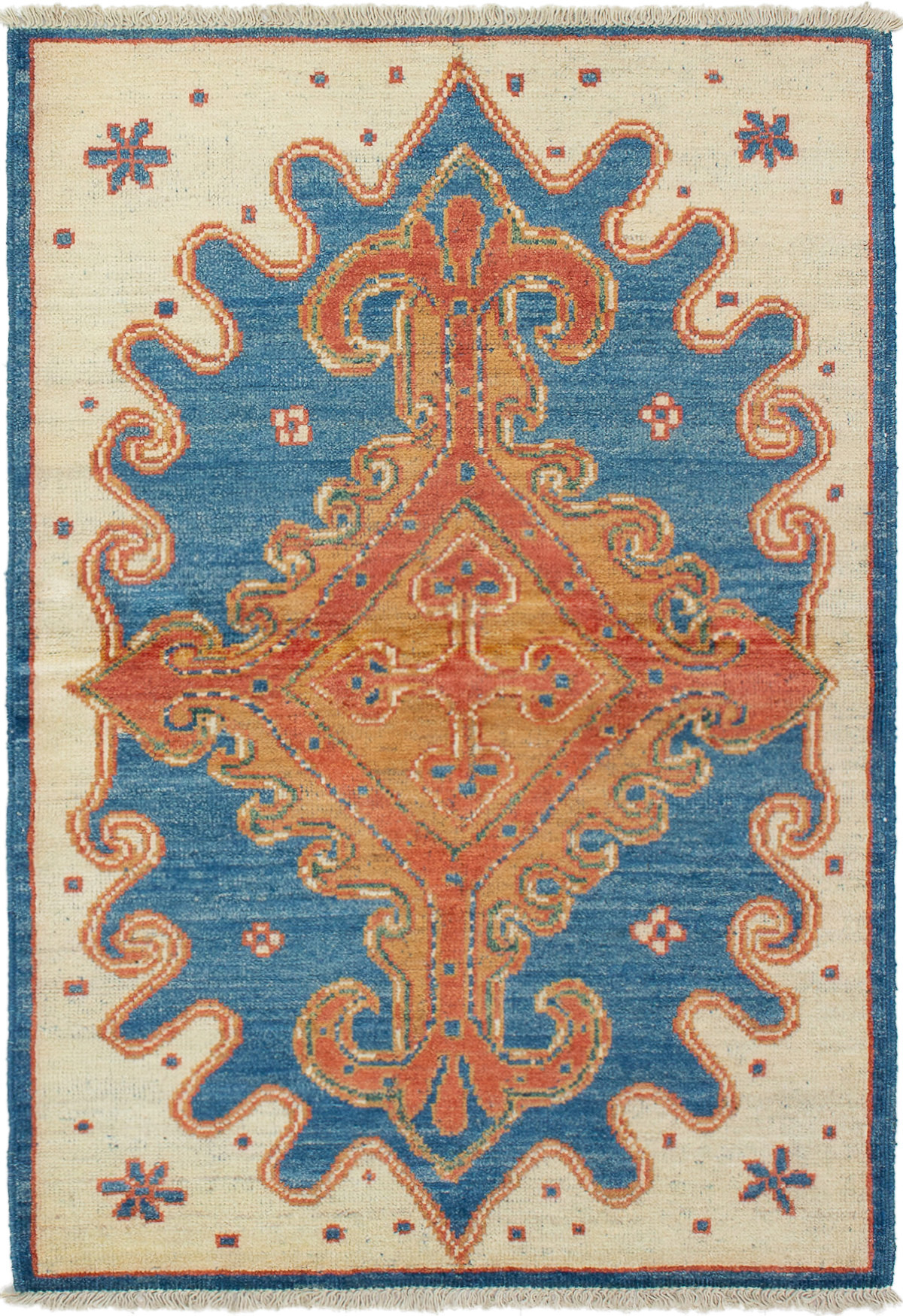"""Hand-knotted Shalimar Blue, Cream Wool Rug 4'2"""" x 6'3"""" Size: 4'2"""" x 6'3"""""""