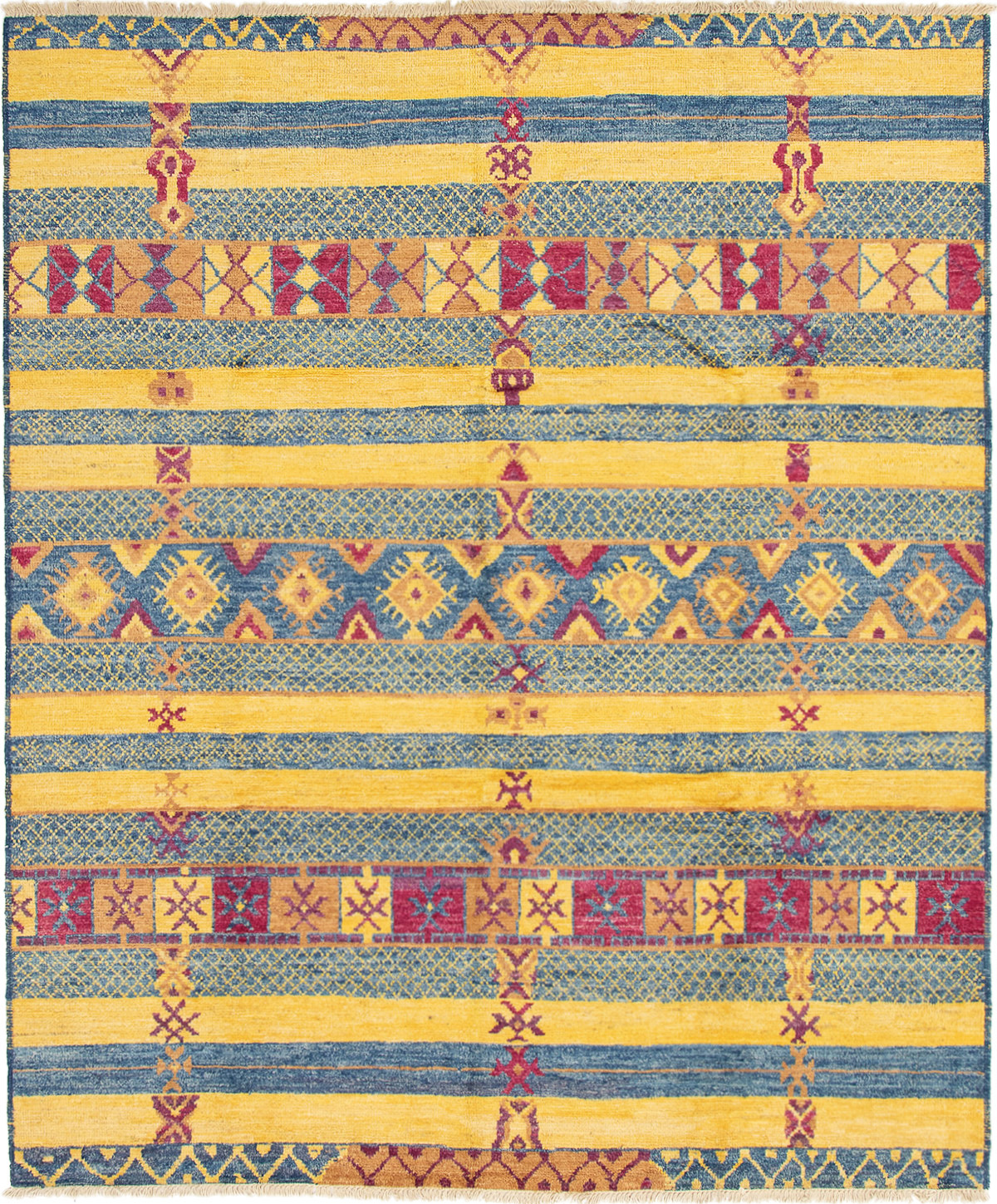 """Hand-knotted Shalimar Blue, Yellow Wool Rug 8'2"""" x 9'9"""" Size: 8'2"""" x 9'9"""""""