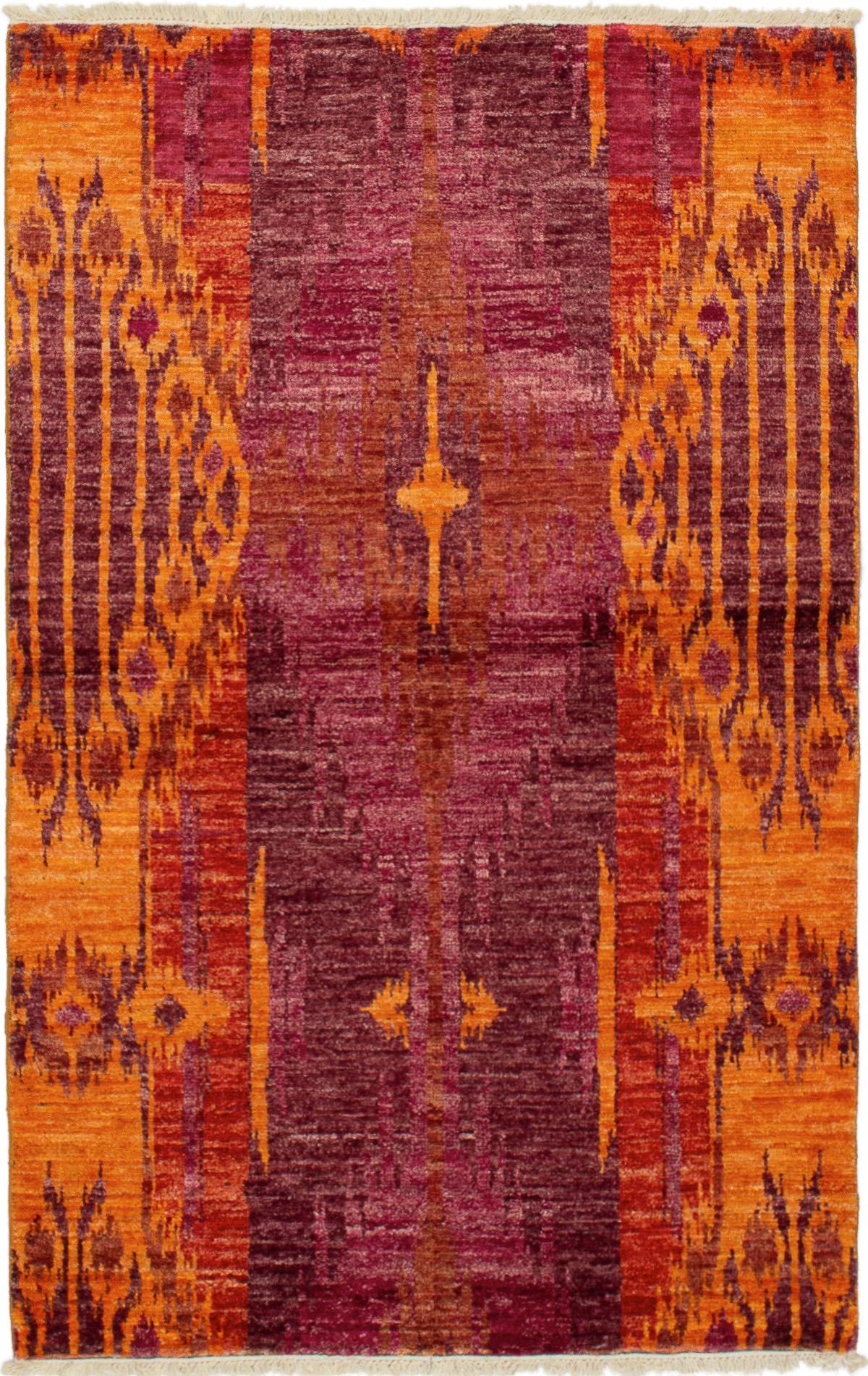 "Hand-knotted Shalimar Burgundy, Light Orange Wool Rug 4'0"" x 6'5"" Size: 4'0"" x 6'5"""
