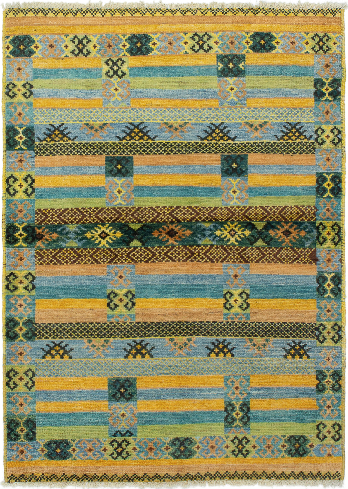 """Hand-knotted Shalimar Olive, Sky Blue Wool Rug 4'4"""" x 6'2"""" Size: 4'4"""" x 6'2"""""""