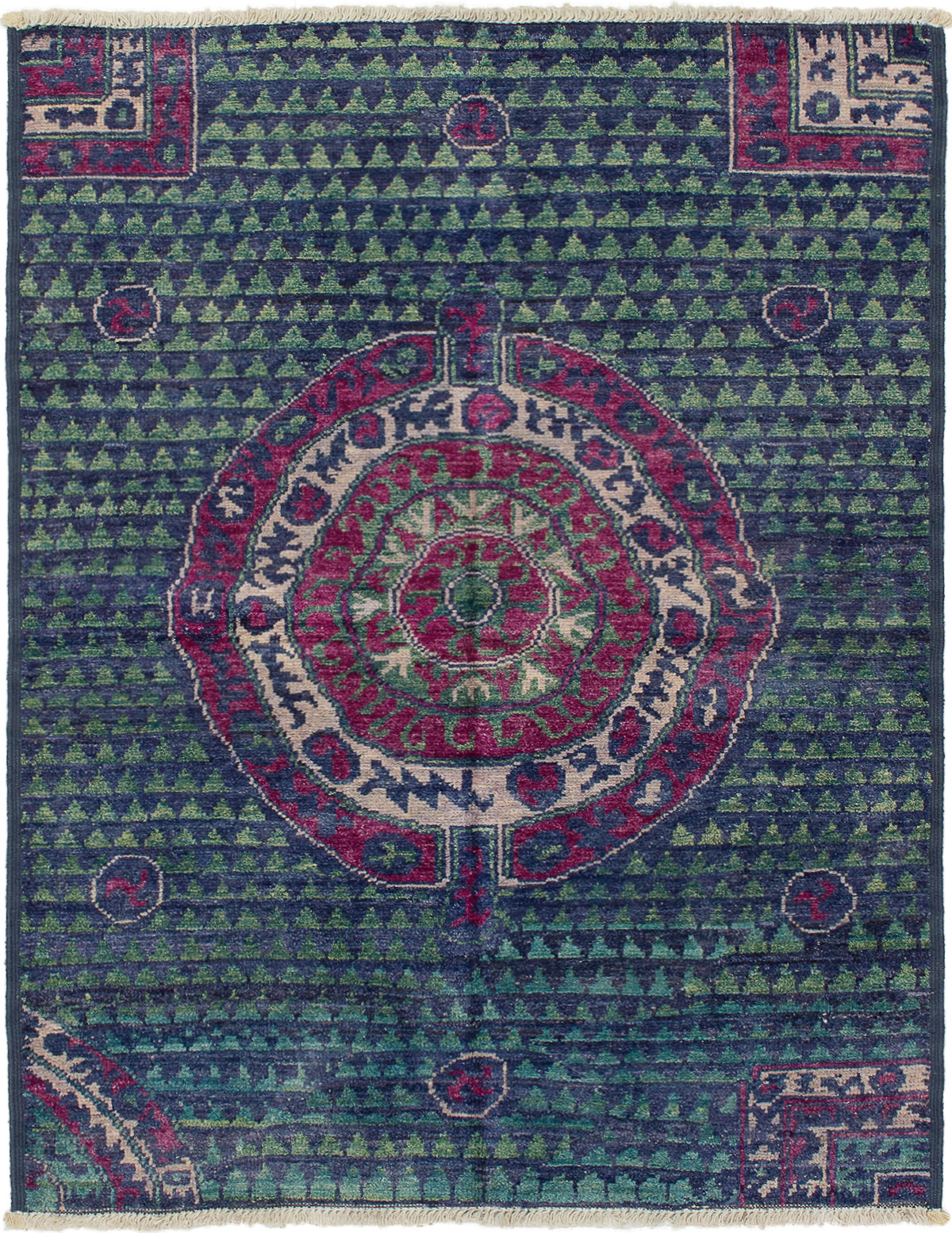 """Hand-knotted Shalimar Navy Blue Wool Rug 5'2"""" x 6'8"""" Size: 5'2"""" x 6'8"""""""