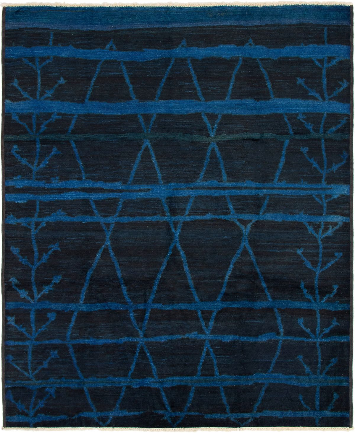 """Hand-knotted Vibrance Black, Blue Wool Rug 8'0"""" x 9'8"""" Size: 8'0"""" x 9'8"""""""