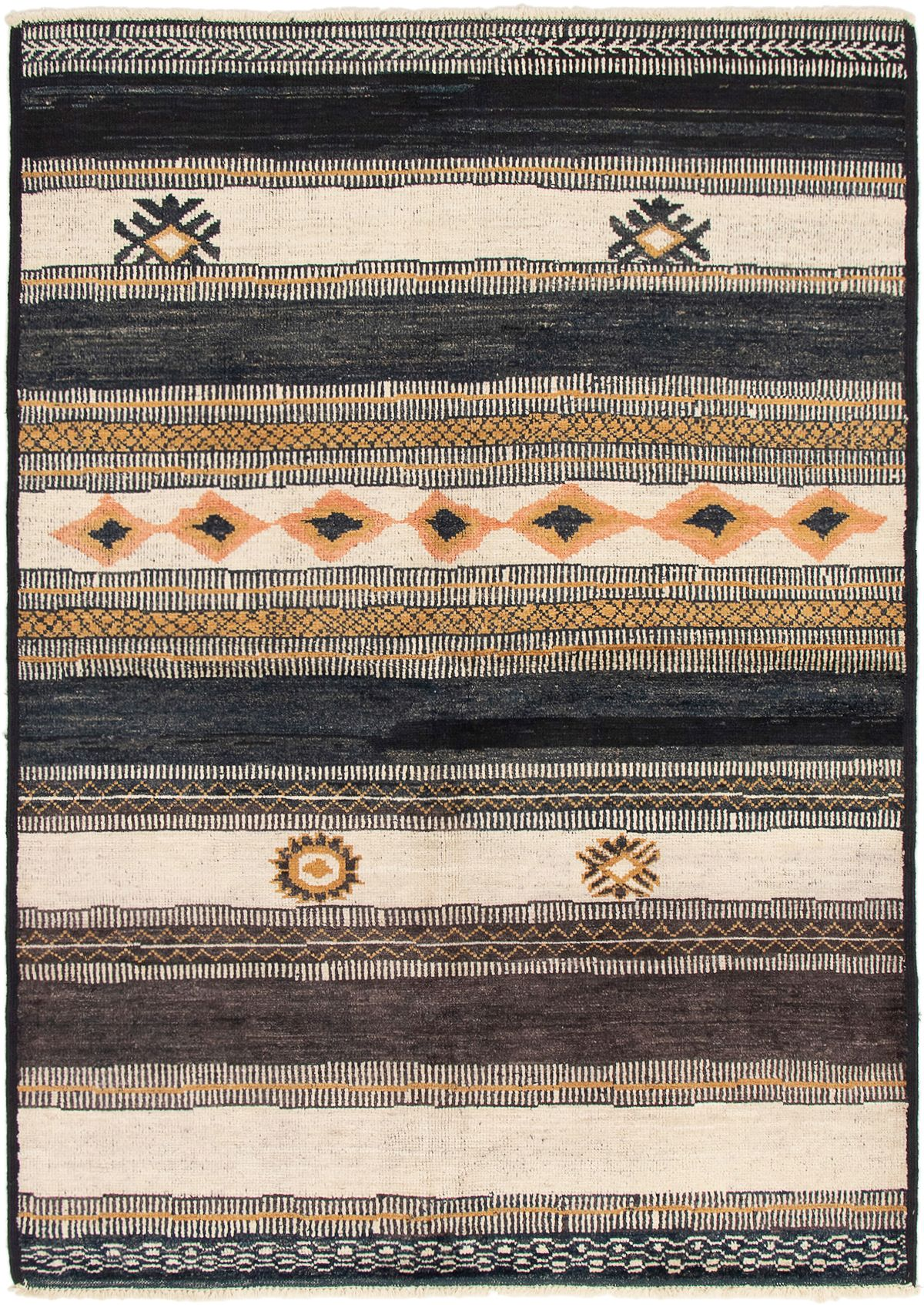 """Hand-knotted Shalimar Black, Cream Wool Rug 6'0"""" x 8'8"""" Size: 6'0"""" x 8'8"""""""