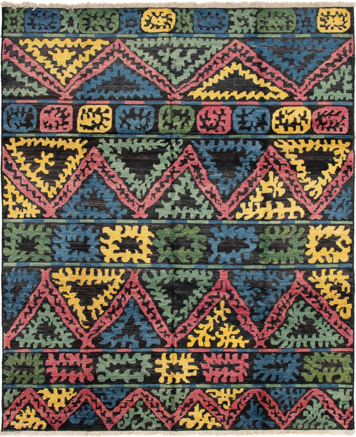 """Hand-knotted Shalimar Black, Blue Wool Rug 8'4"""" x 10'0"""" Size: 8'4"""" x 10'0"""""""