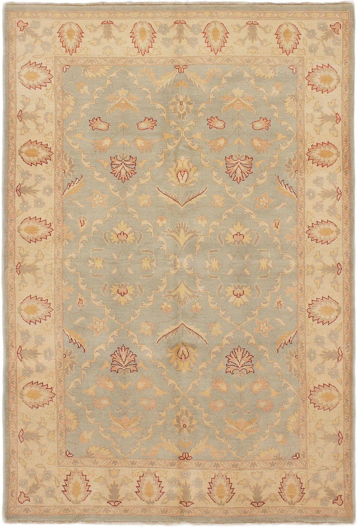 "Hand-knotted Chobi Finest Light Blue  Wool Rug 5'5"" x 8'1"" Size: 5'5"" x 8'1"""