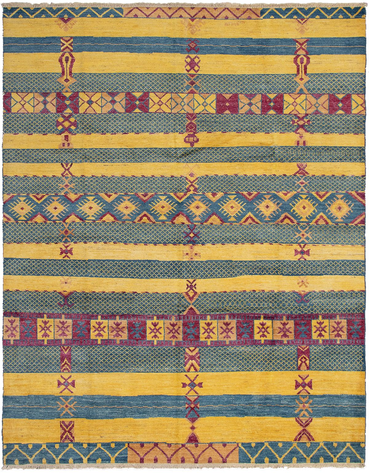 """Hand-knotted Shalimar Dark Blue, Gold Wool Rug 9'3"""" x 11'9"""" Size: 9'3"""" x 11'9"""""""