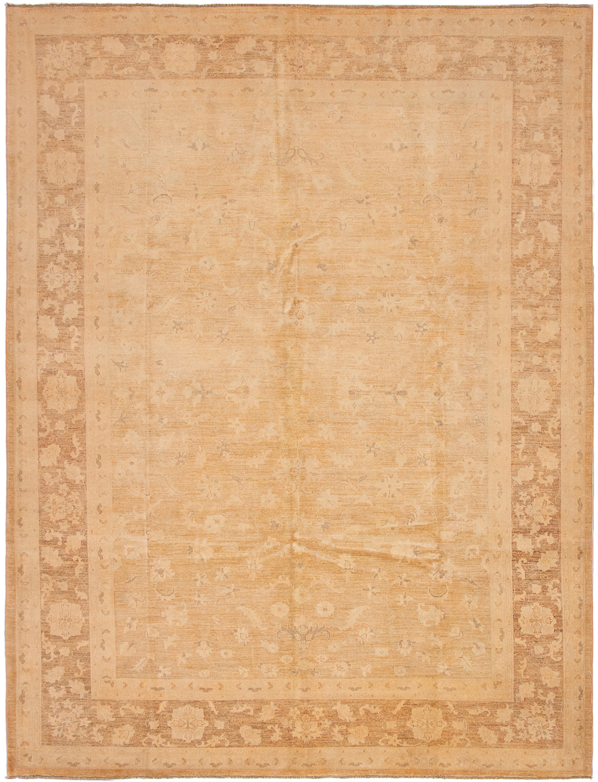 """Hand-knotted Color transition Light Orange Wool Rug 9'1"""" x 11'10"""" Size: 9'1"""" x 11'10"""""""