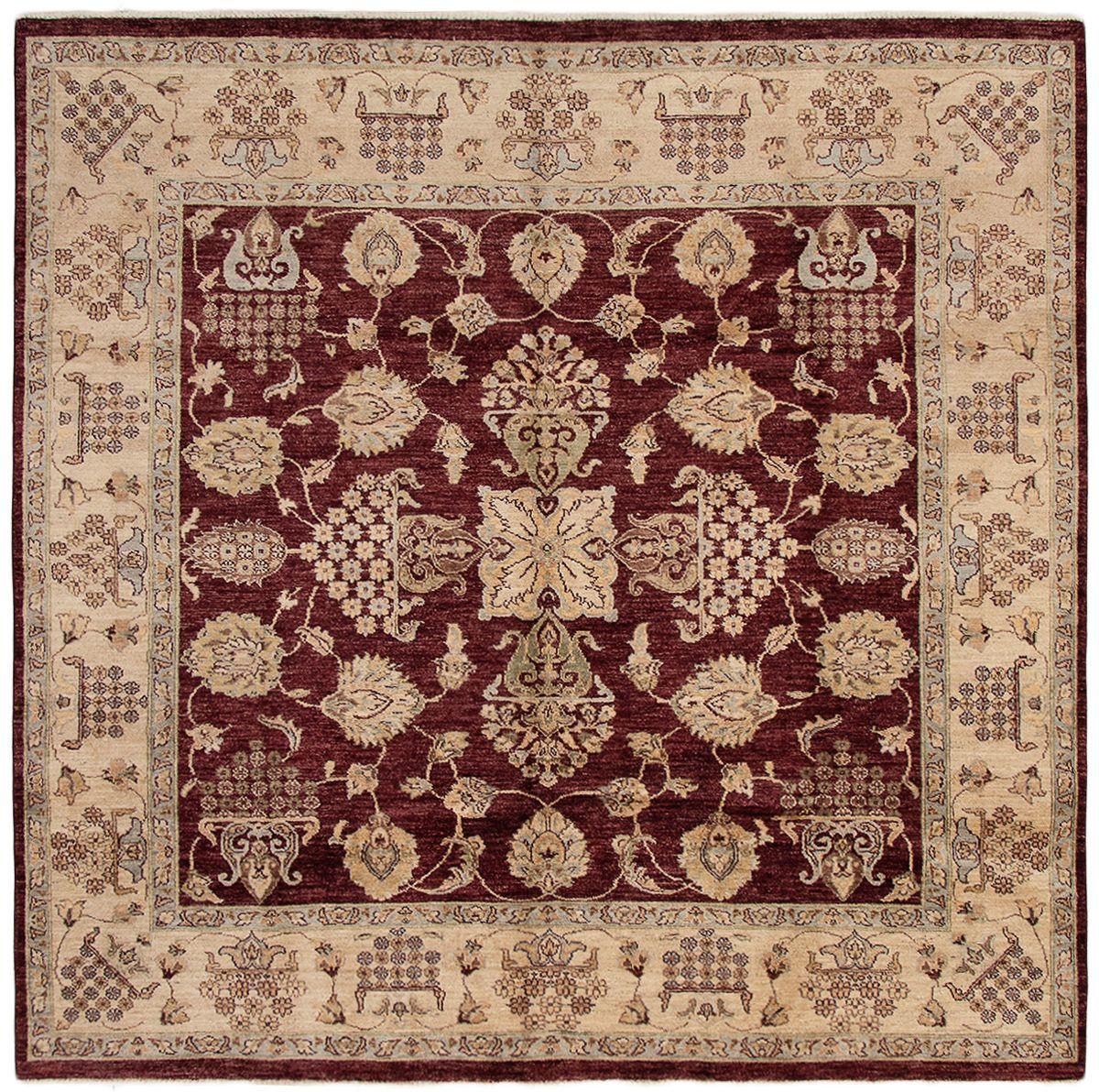 "Hand-knotted Chobi Twisted Burgundy Wool Rug 8'1"" x 7'10"" Size: 8'1"" x 7'10"""
