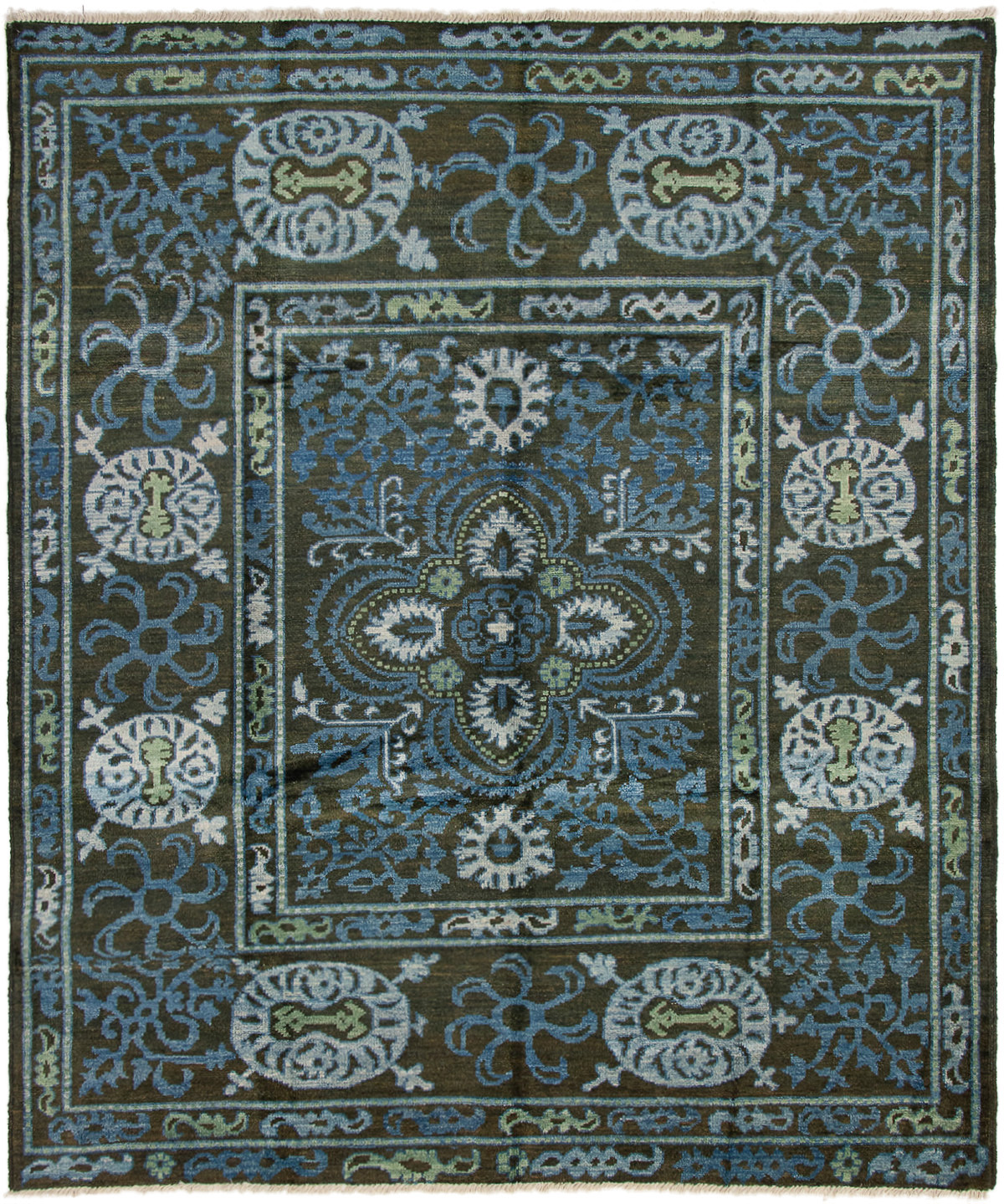 """Hand-knotted Shalimar Black, Blue Wool Rug 8'2"""" x 9'6"""" Size: 8'2"""" x 9'6"""""""