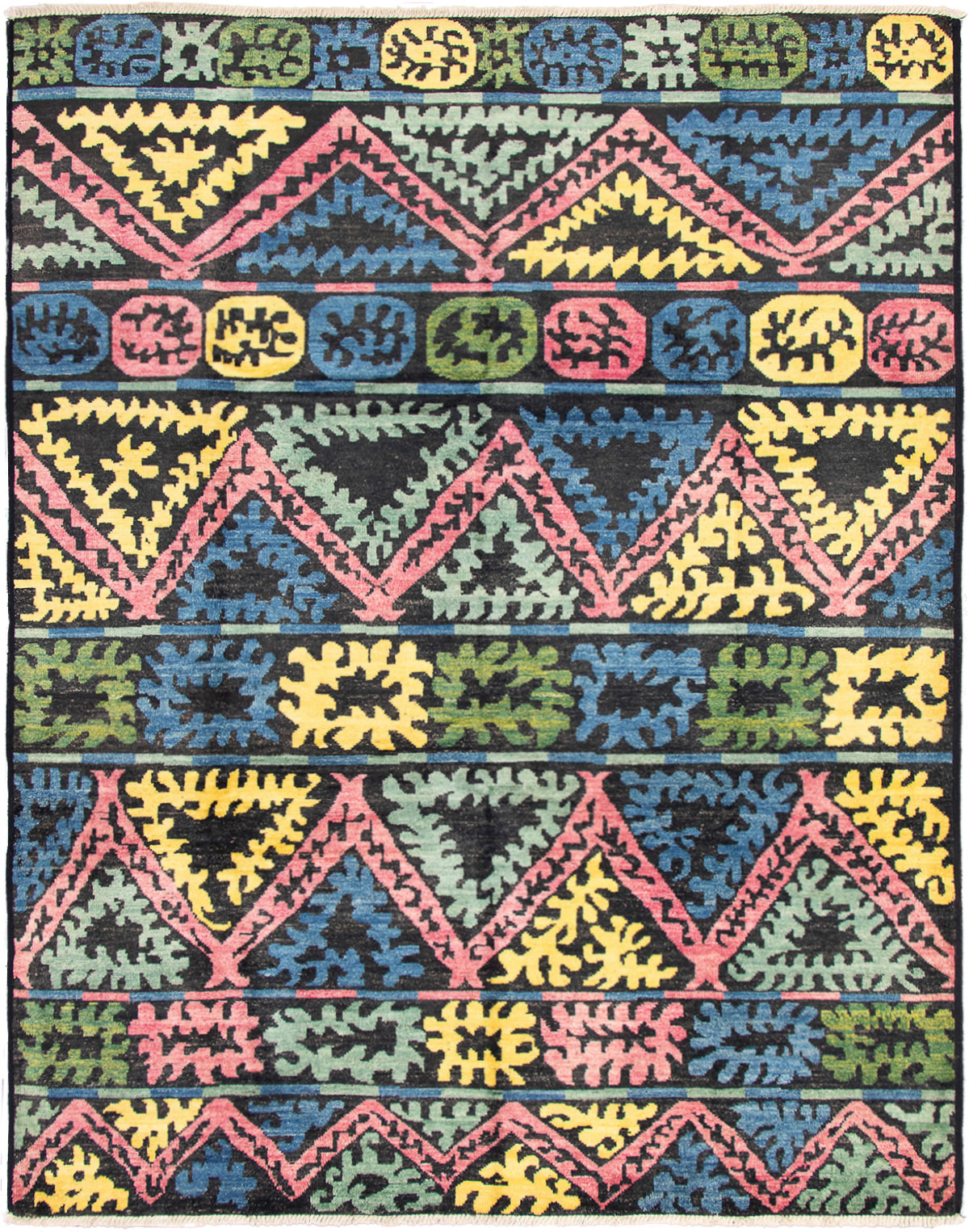 """Hand-knotted Shalimar Black, Blue Wool Rug 9'4"""" x 11'10"""" Size: 9'4"""" x 11'10"""""""