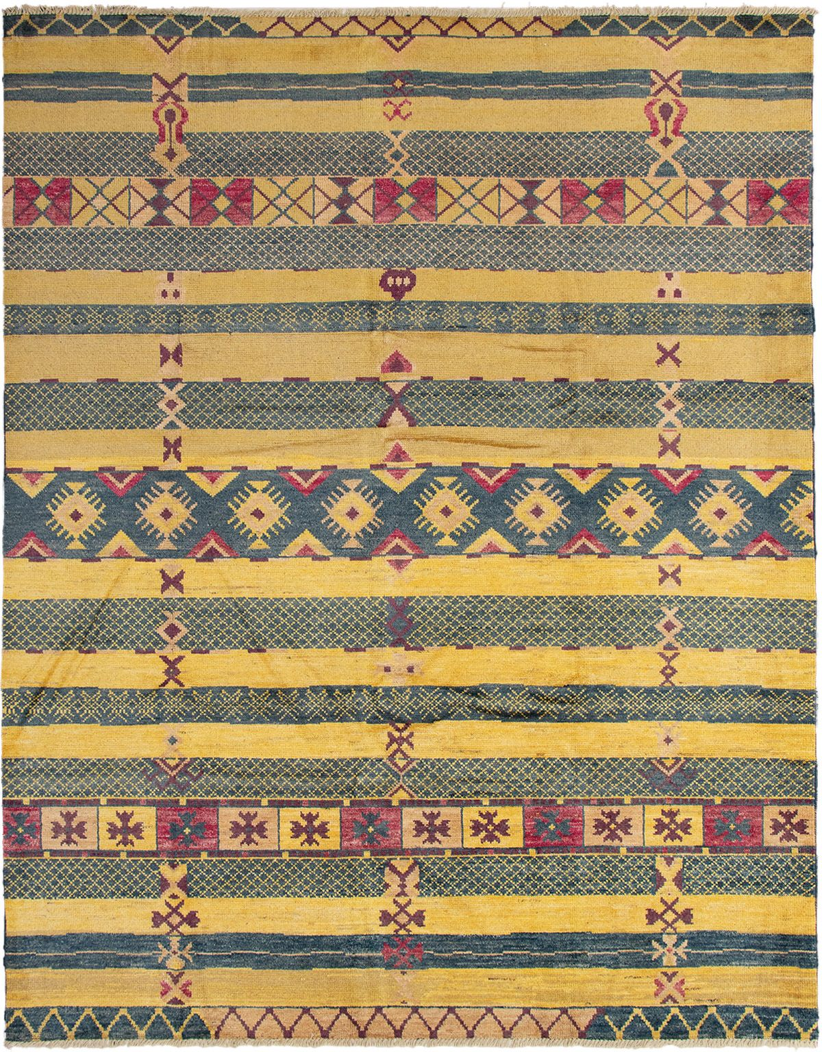 """Hand-knotted Shalimar Blue, Gold Wool Rug 9'2"""" x 11'9"""" Size: 9'2"""" x 11'9"""""""