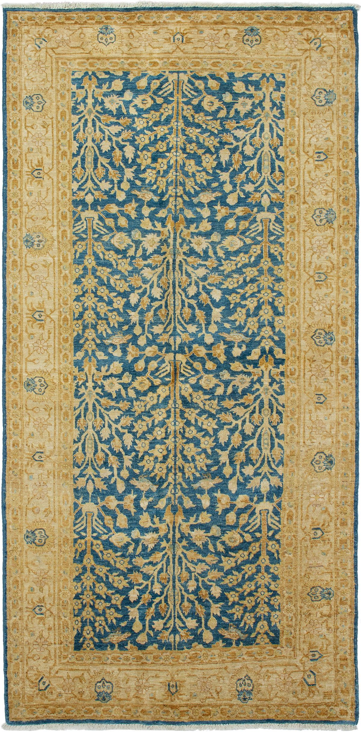 """Hand-knotted Chobi Twisted Blue Wool Rug 4'8"""" x 9'10"""" Size: 4'8"""" x 9'10"""""""