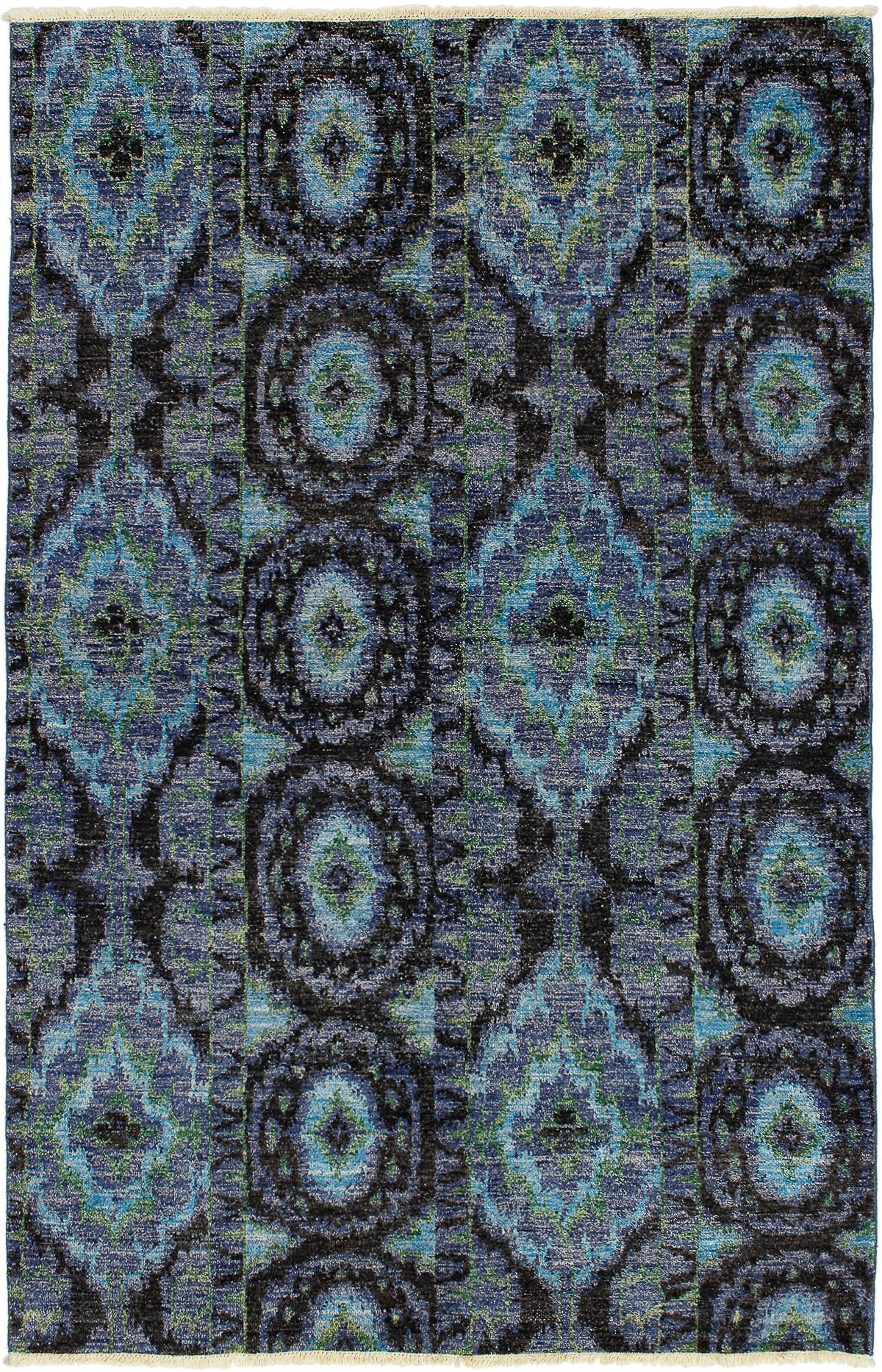 """Hand-knotted Shalimar Cream, Slate Blue Wool Rug 6'0"""" x 9'3"""" Size: 6'0"""" x 9'3"""""""