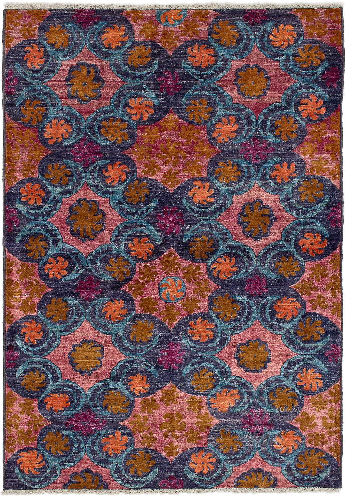 """Hand-knotted Shalimar Salmon, Sky Blue Wool Rug 6'0"""" x 8'9"""" Size: 6'0"""" x 8'9"""""""