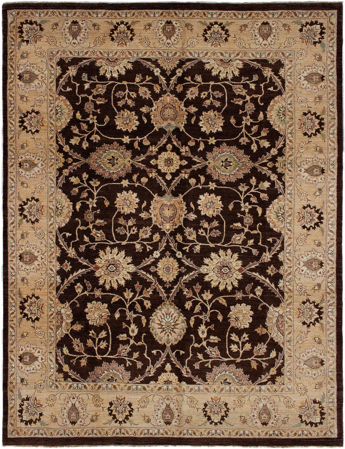 "Hand-knotted Chobi Finest Dark Brown Wool Rug 8'1"" x 10'7"" Size: 8'1"" x 10'7"""