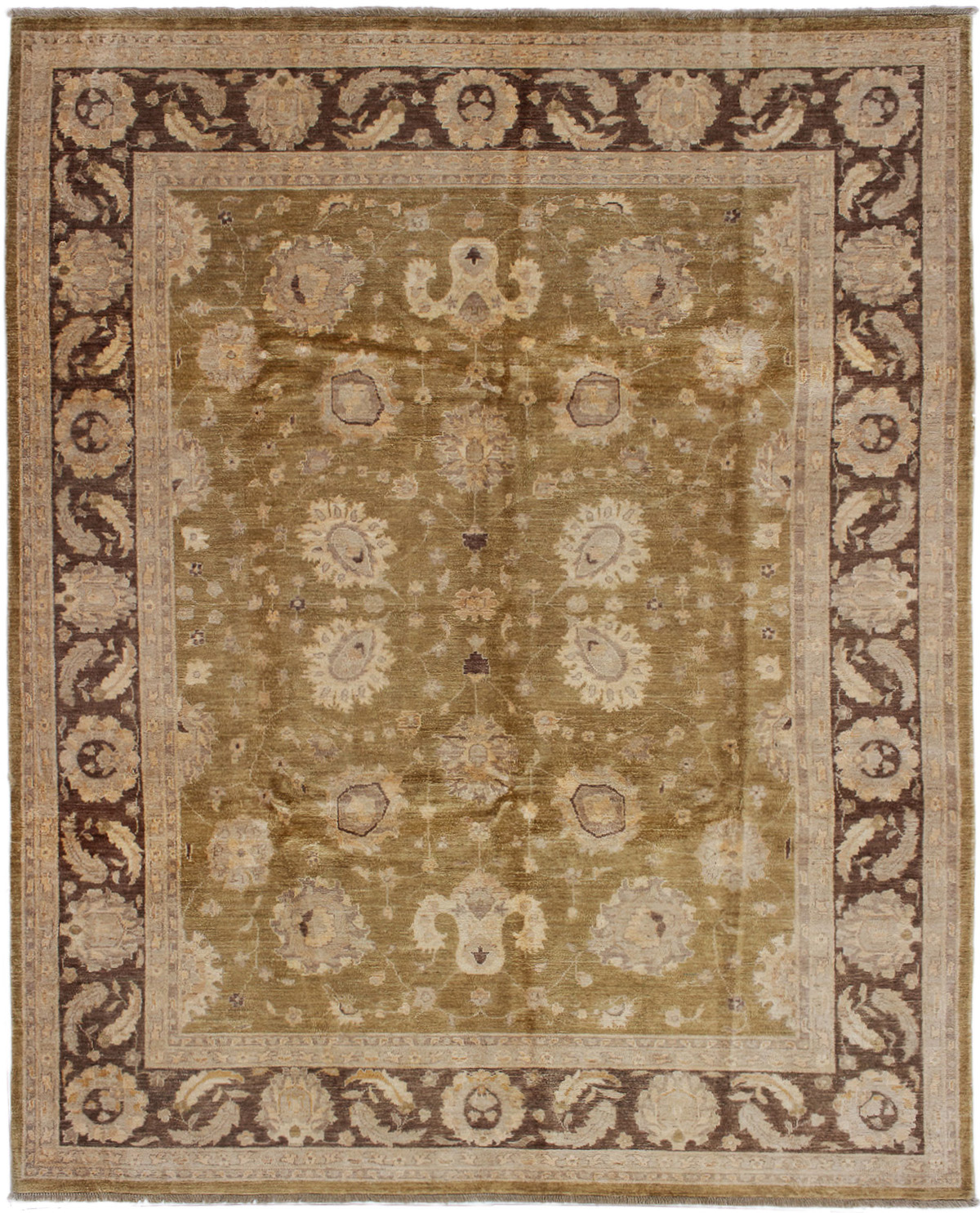 """Hand-knotted Chobi Finest Olive Wool Rug 7'11"""" x 9'11"""" Size: 7'11"""" x 9'11"""""""