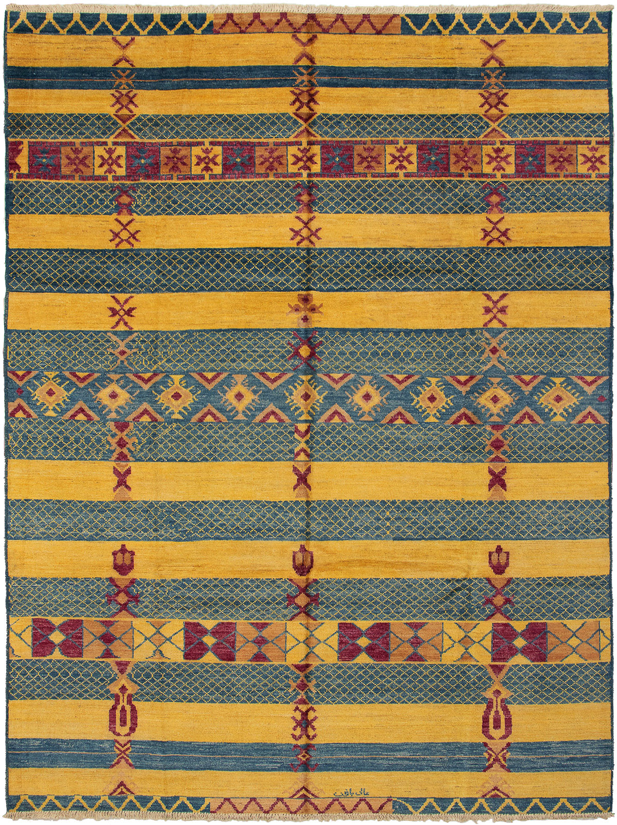 """Hand-knotted Shalimar Dark Blue, Gold Wool Rug 9'1"""" x 12'0"""" Size: 9'1"""" x 12'0"""""""