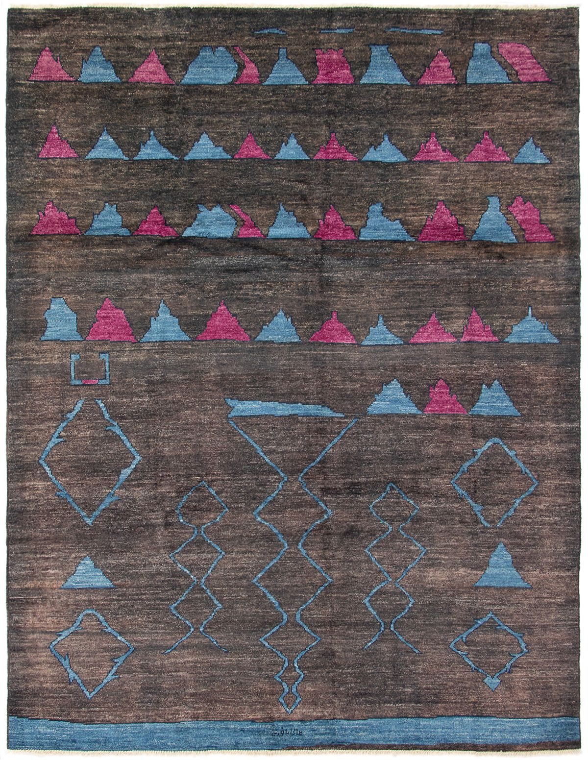 """Hand-knotted Tangier Black, Blue Wool Rug 9'6"""" x 12'5"""" Size: 9'6"""" x 12'5"""""""