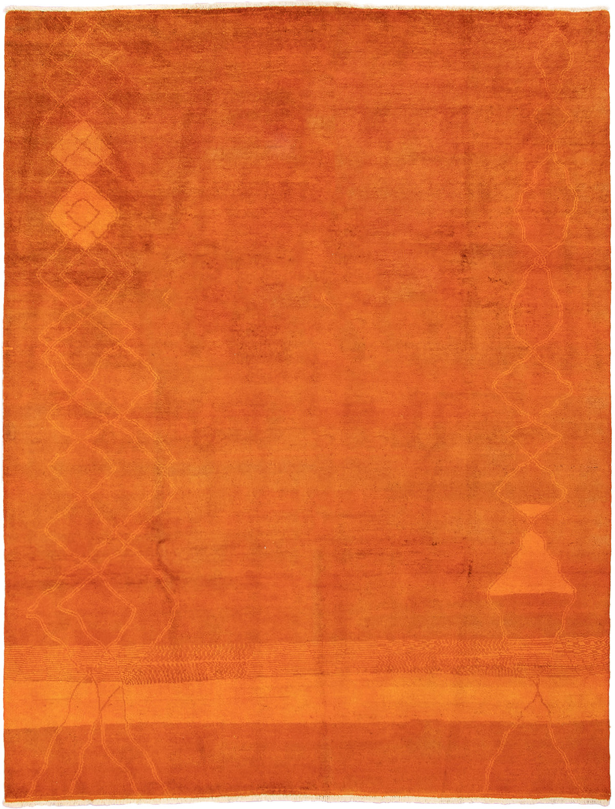 """Hand-knotted Vibrance Burnt Orange Wool Rug 9'0"""" x 11'10"""" Size: 9'0"""" x 11'10"""""""