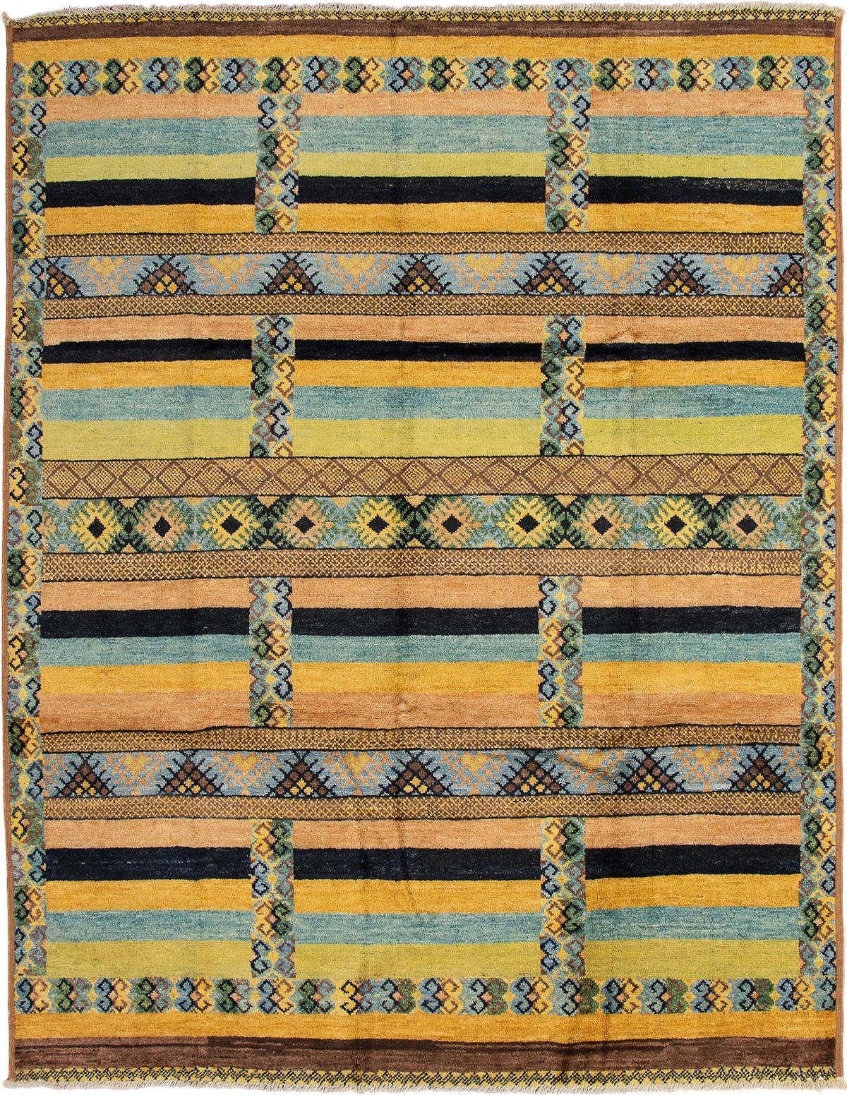 """Hand-knotted Shalimar Brown, Light Green Wool Rug 9'4"""" x 12'0"""" Size: 9'4"""" x 12'0"""""""