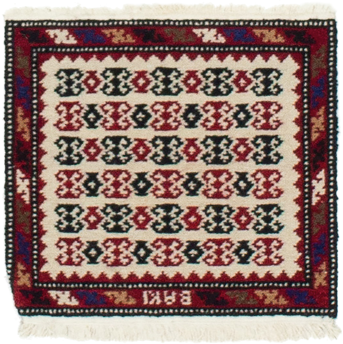 "Hand-knotted Vintage Tribal Cream, Red Wool Rug 1'3"" x 1'2"" Size: 1'3"" x 1'2"""