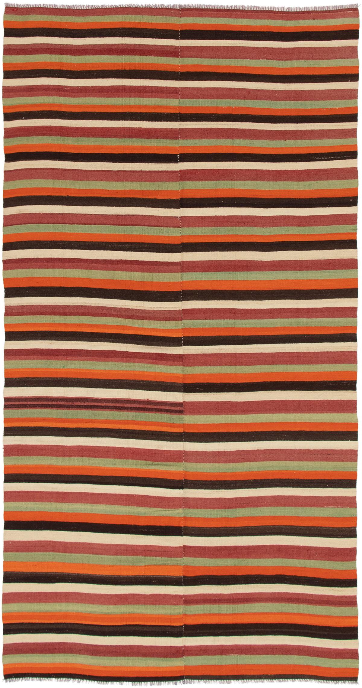 "Hand woven Bohemian Orange Wool Kilim 4'10"" x 9'4"" Size: 4'10"" x 9'4"""