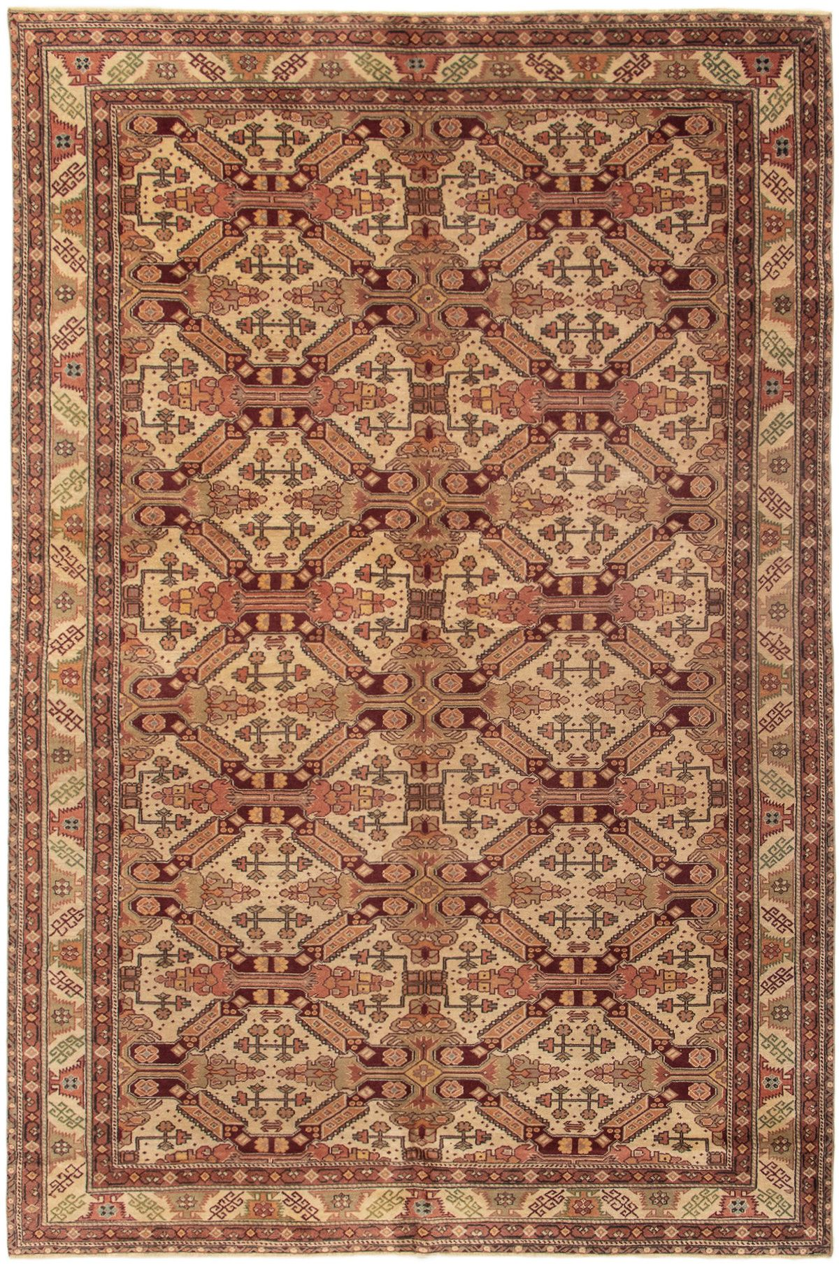 """Hand-knotted Keisari Vintage Cream Wool Rug 6'6"""" x 9'10""""  Size: 6'6"""" x 9'11"""""""
