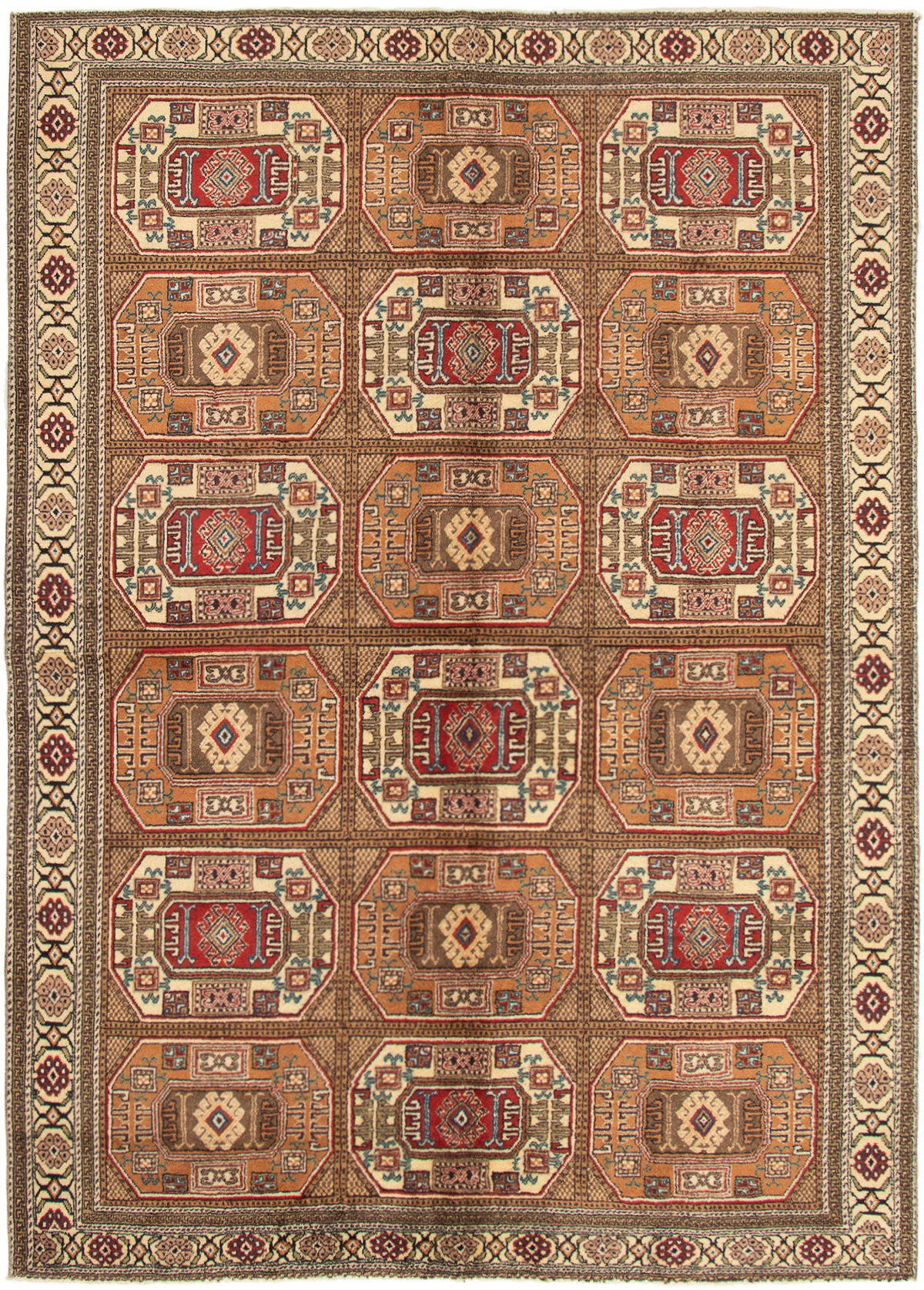 """Hand-knotted Keisari Vintage Light Brown Wool Rug 6'4"""" x 8'10"""" Size: 6'4"""" x 8'10"""""""