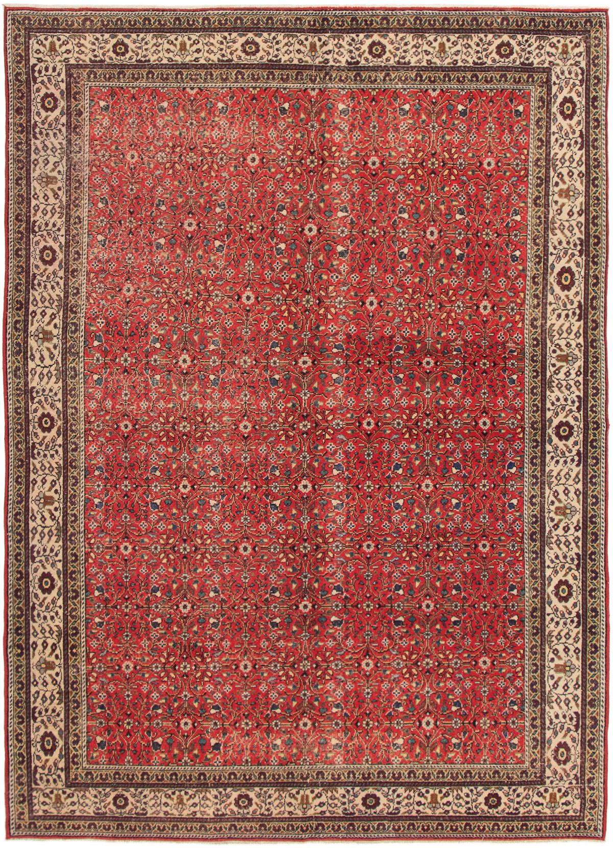 "Hand-knotted Keisari Vintage Red Wool Rug 6'6"" x 9'3""  Size: 6'6"" x 9'3"""
