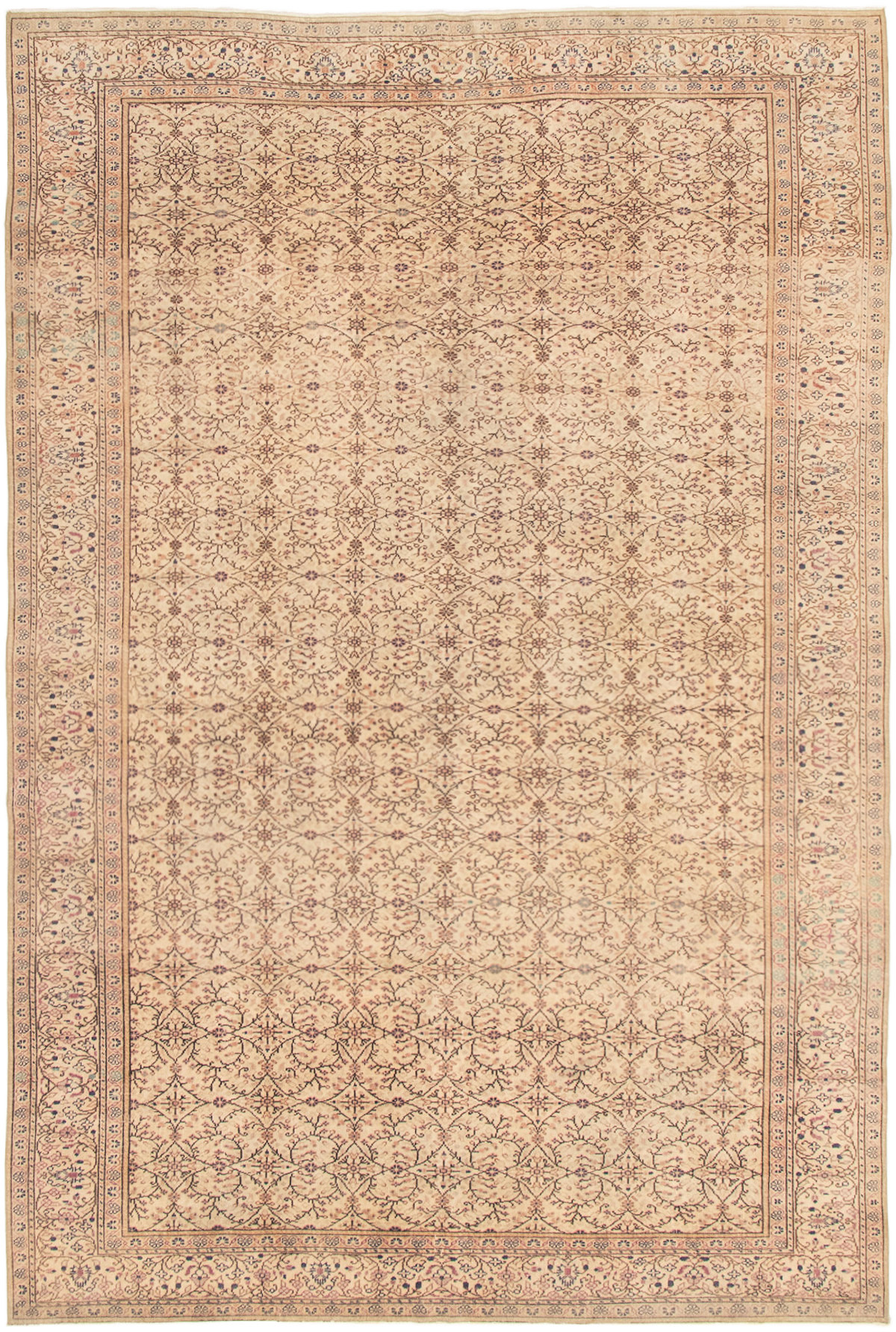 "Hand-knotted Antalya Vintage Cream Wool Rug 5'11"" x 9'6""  Size: 5'11"" x 9'6"""
